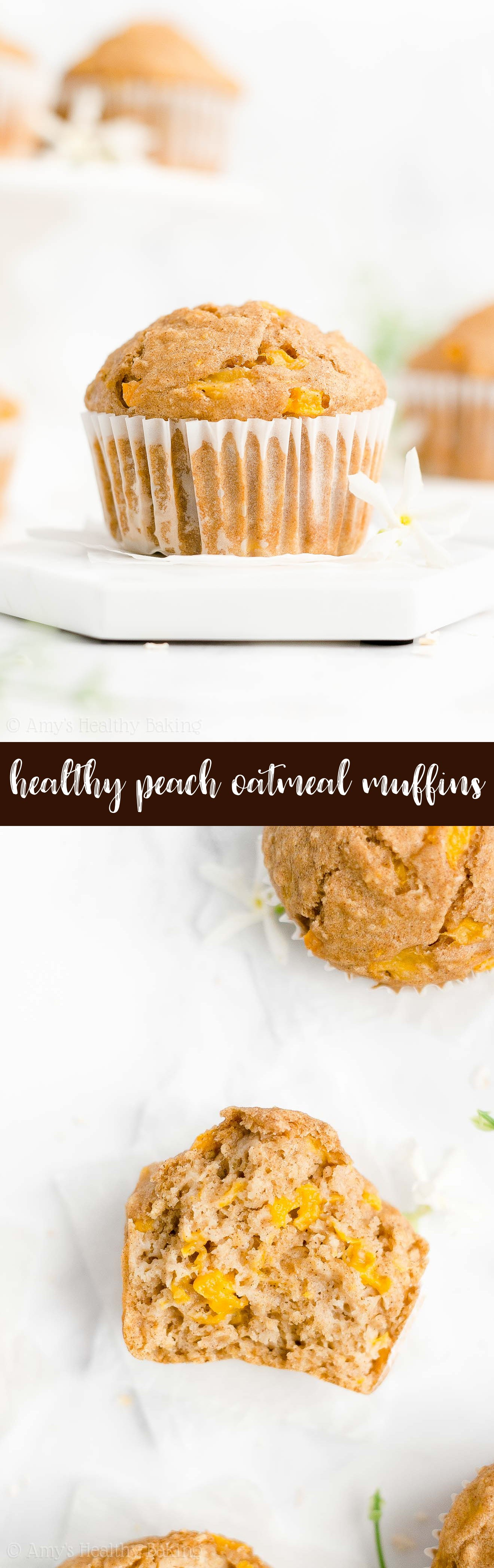 Best Ever Easy Healthy Gluten Free Greek Yogurt No Sugar Peach Oatmeal Muffins
