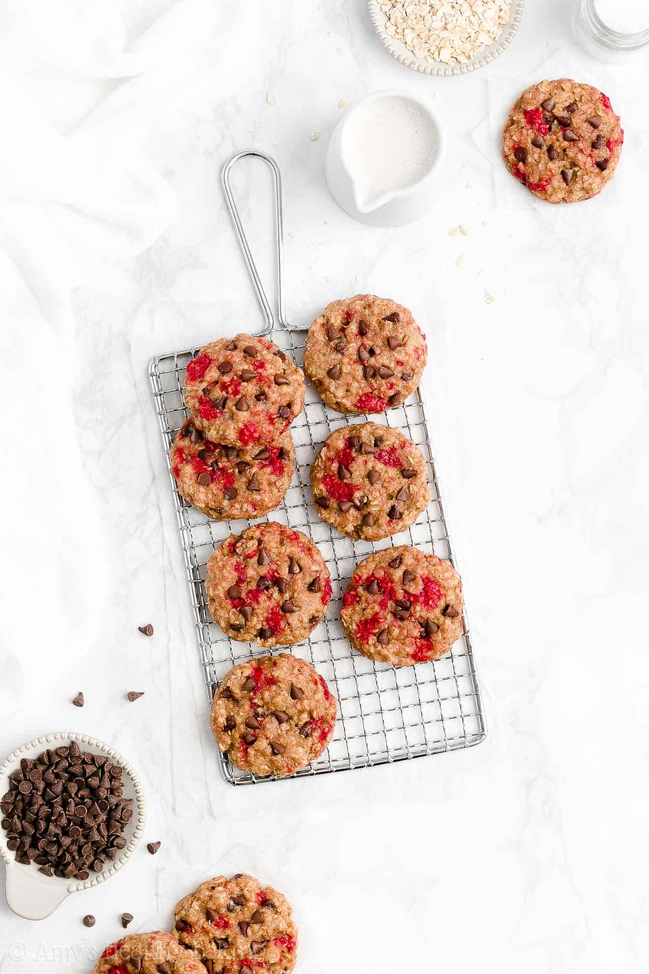 Easy Healthy Gluten Free Raspberry Chocolate Chip Oatmeal Breakfast Cookies