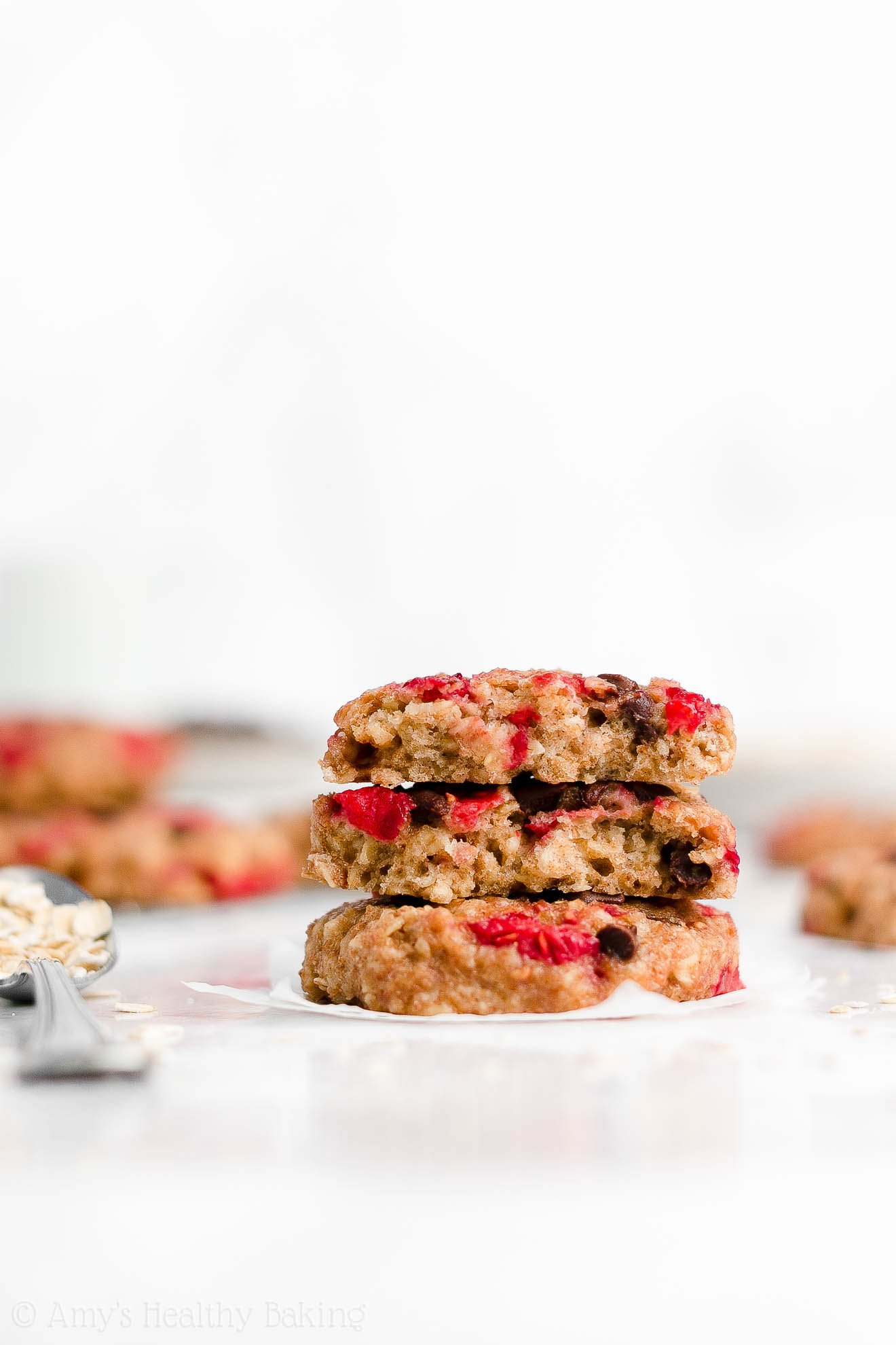 Easy Healthy Homemade Raspberry Chocolate Chip Oatmeal Breakfast Cookies