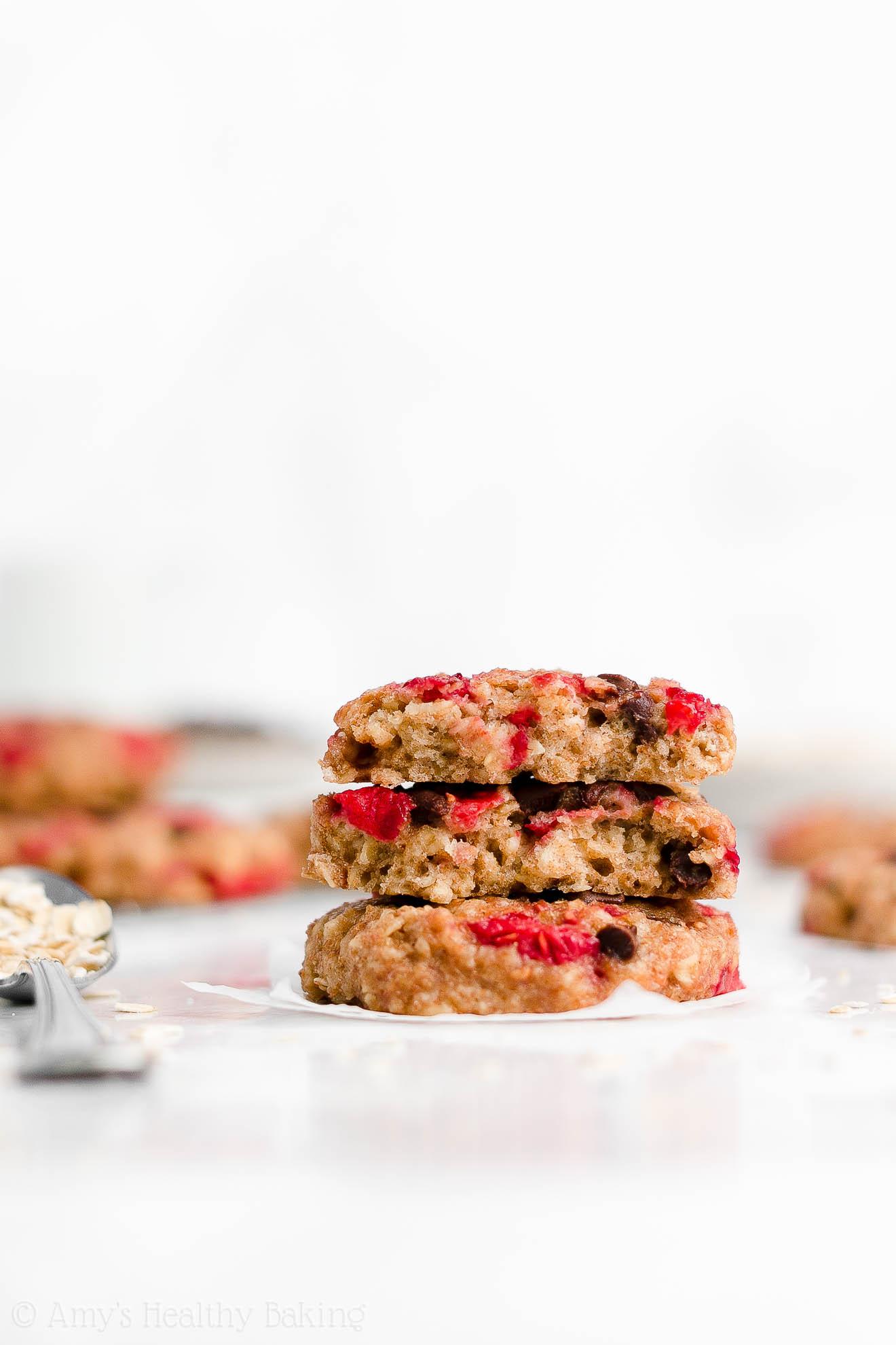 Easy Healthy Homemade Raspberry Chocolate Chip Oatmeal Breakfast Cookies