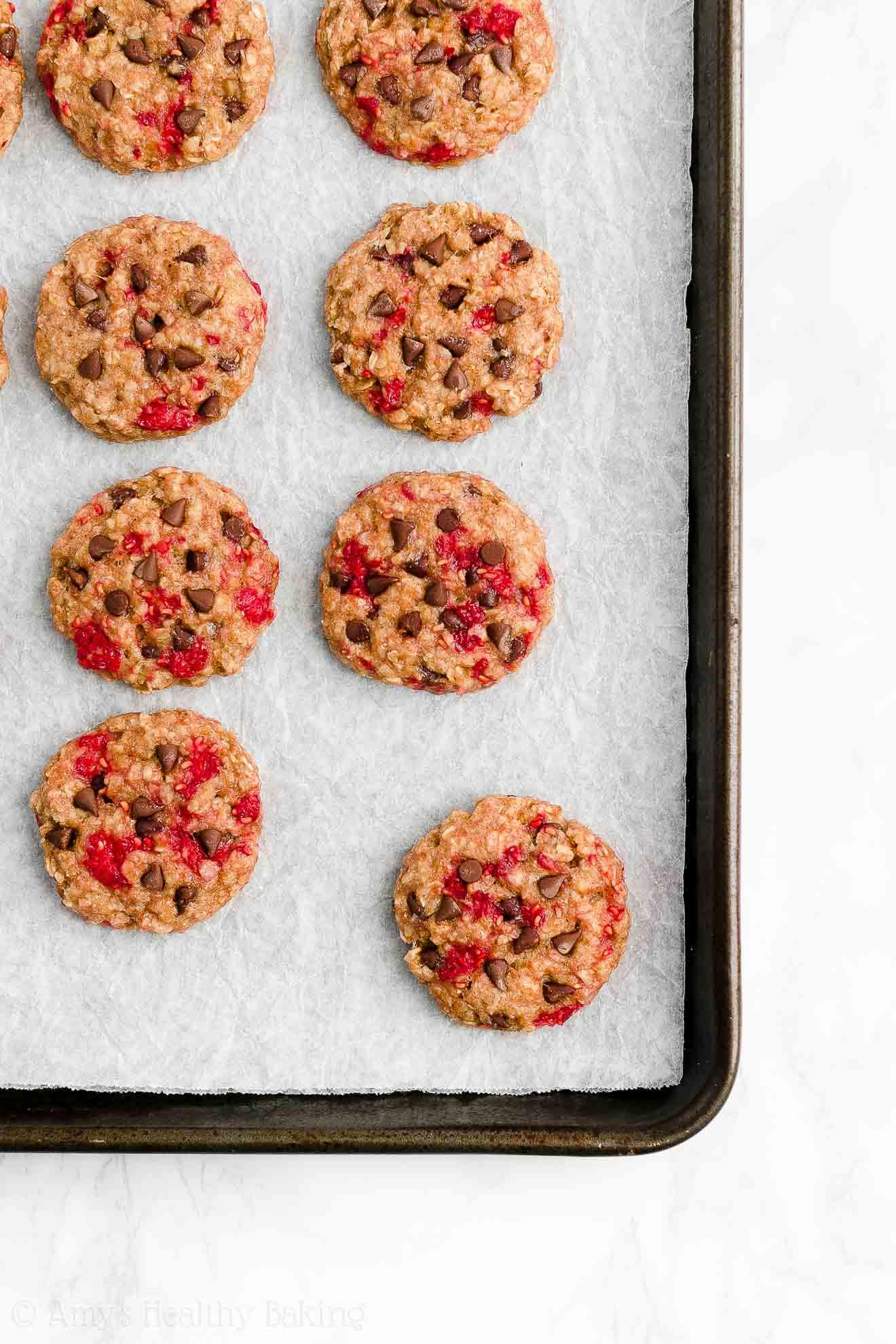 Easy Healthy Dairy Free Raspberry Chocolate Chip Oatmeal Breakfast Cookies