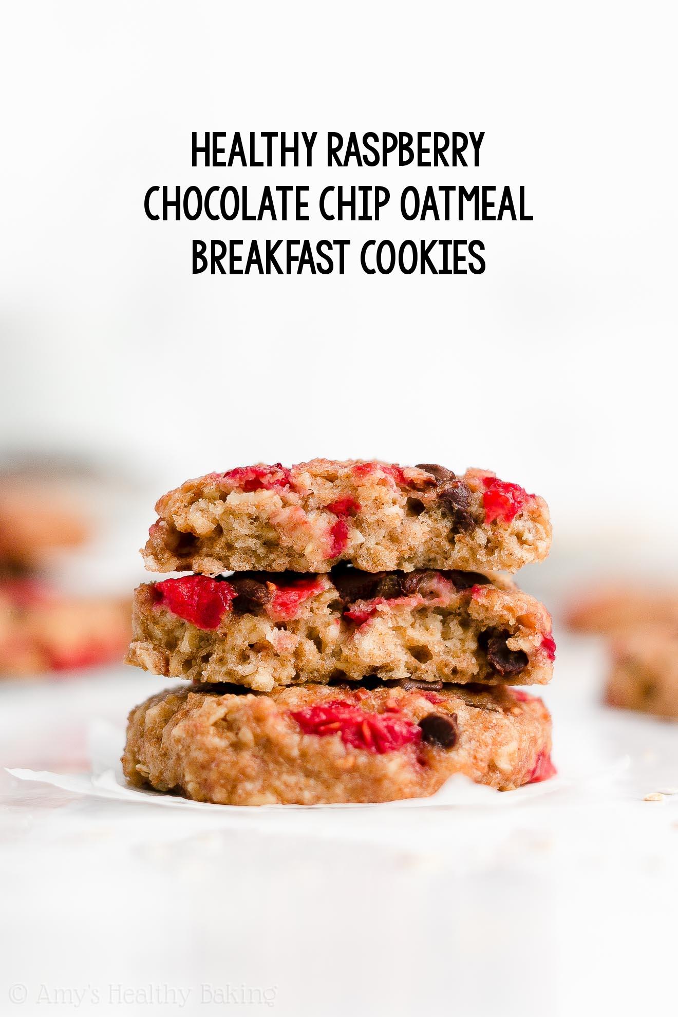 Best Easy Healthy Dairy Free Clean Eating Raspberry Chocolate Chip Oatmeal Breakfast Cookies