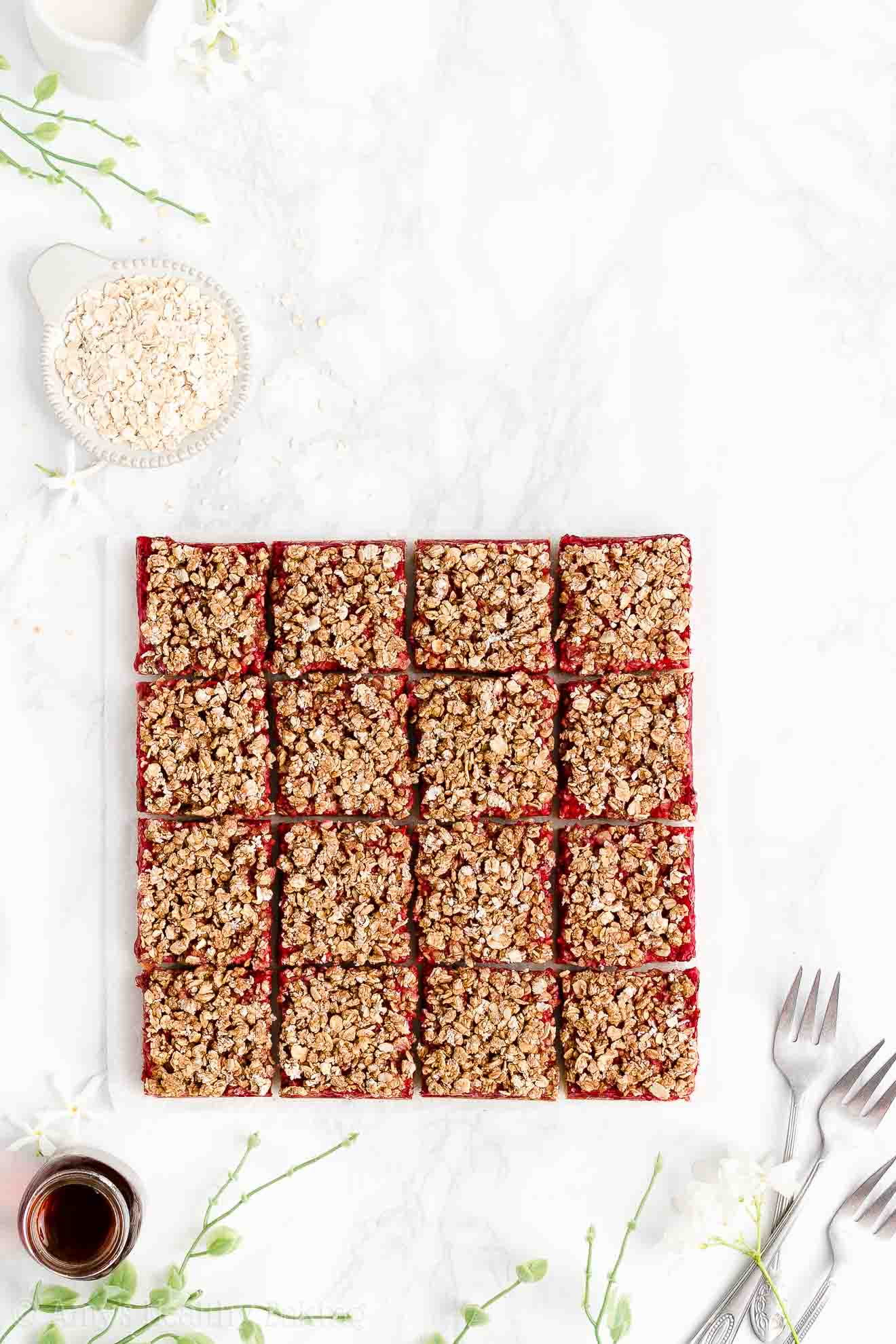 Easy Healthy Clean Eating Vegan Gluten Free Raspberry Oatmeal Crumble Bars