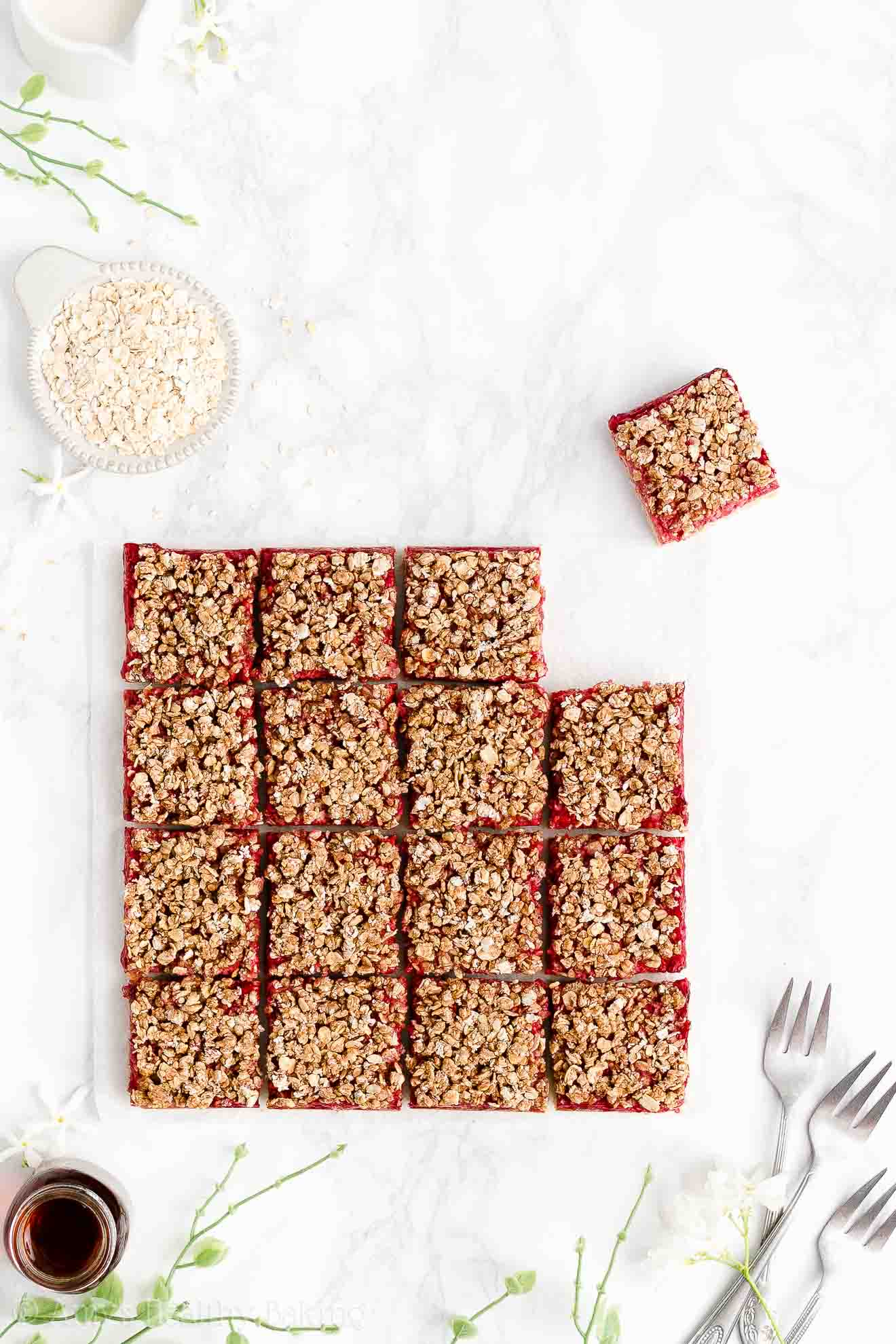 Easy Healthy Clean Eating Gluten Free Fresh Raspberry Oat Crumble Bars