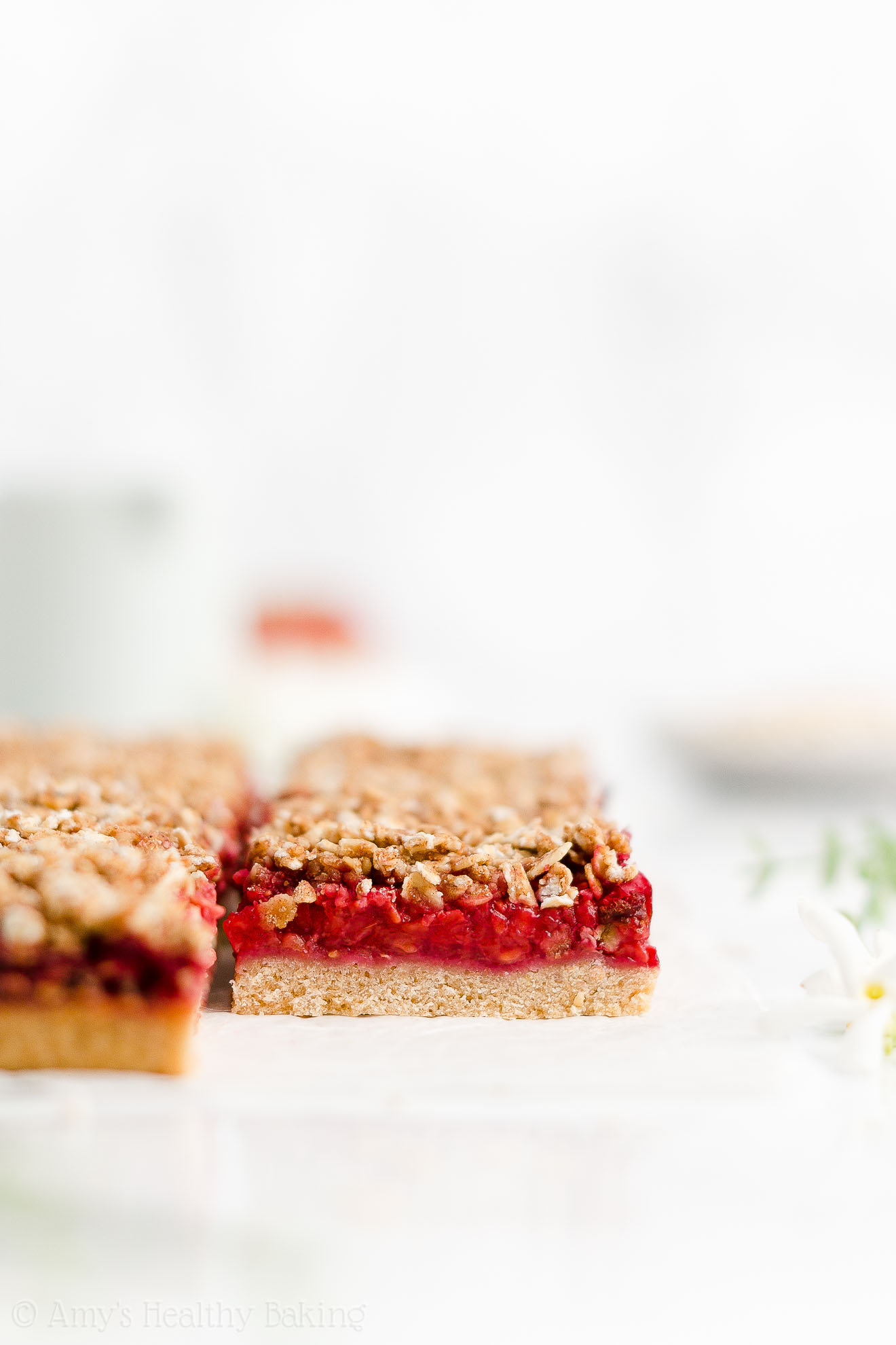 Easy Healthy Vegan Egg Free Dairy Free Fresh Raspberry Oat Crumble Bars
