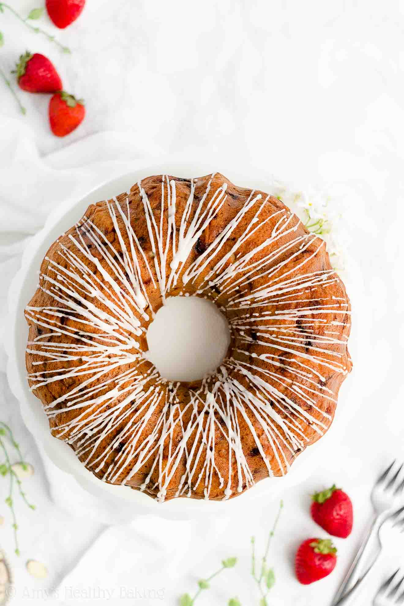 Easy Healthy Clean Eating Whole Wheat Greek Yogurt Strawberry Bundt Cake