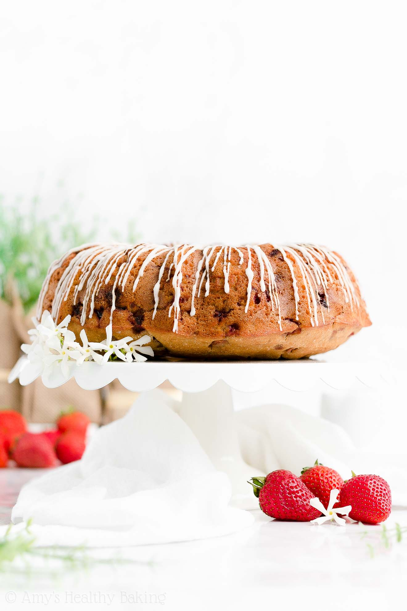 Easy Healthy No Sugar Low Fat Low Calorie Moist Fresh Strawberry Bundt Cake