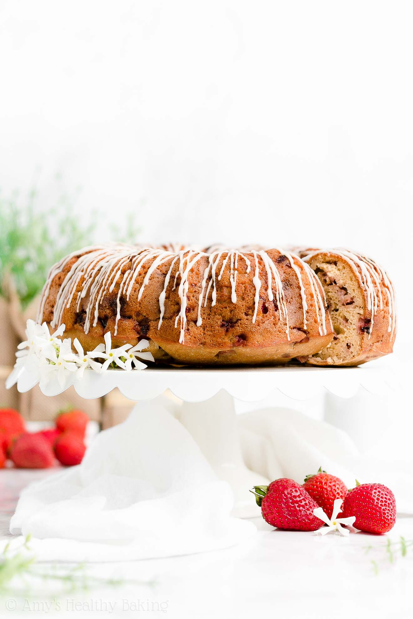 Best Easy Healthy Whole Wheat Greek Yogurt Fresh Strawberry Bundt Cake