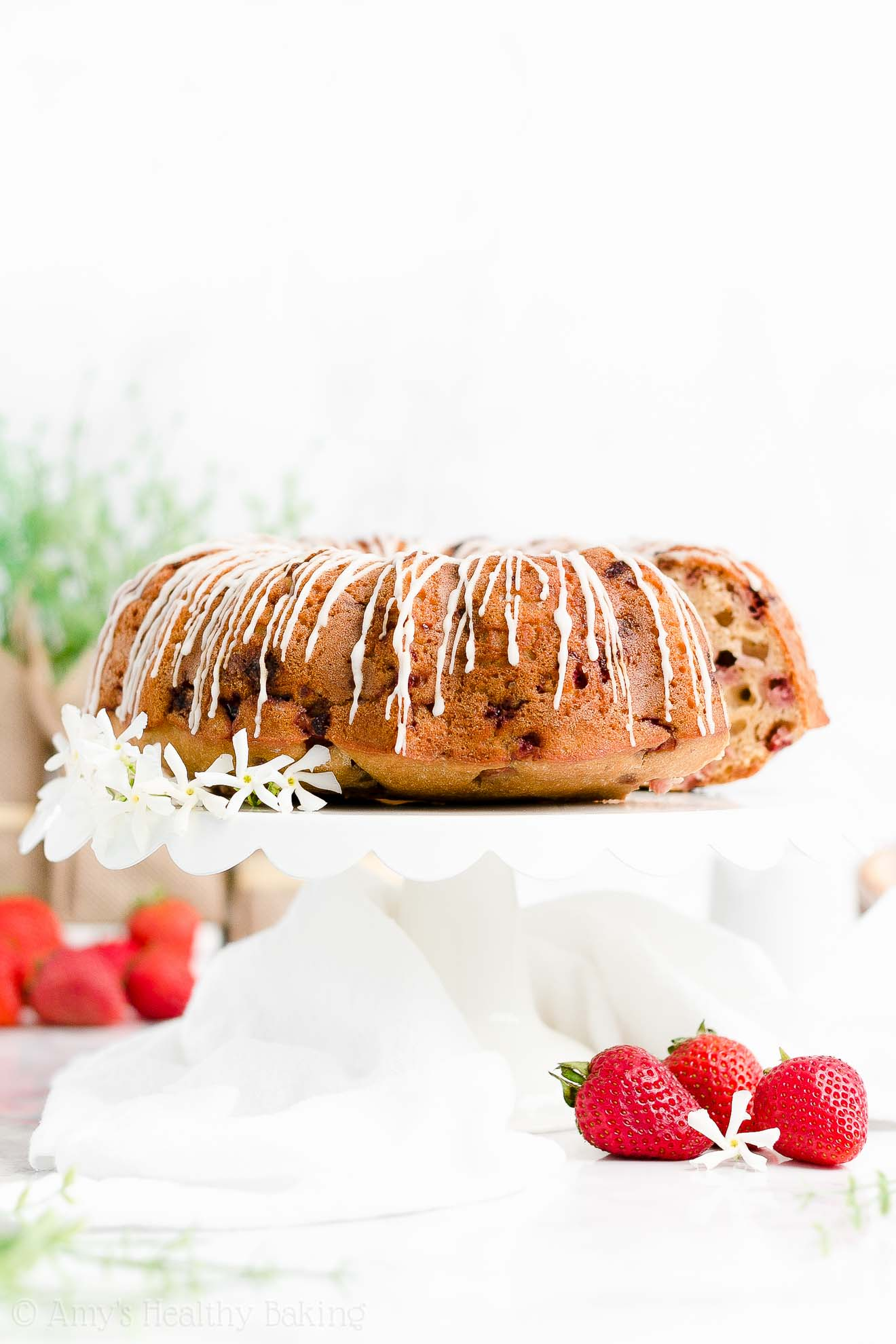 Best Easy Healthy Sugar Free Gluten Free Greek Yogurt Strawberry Bundt Cake