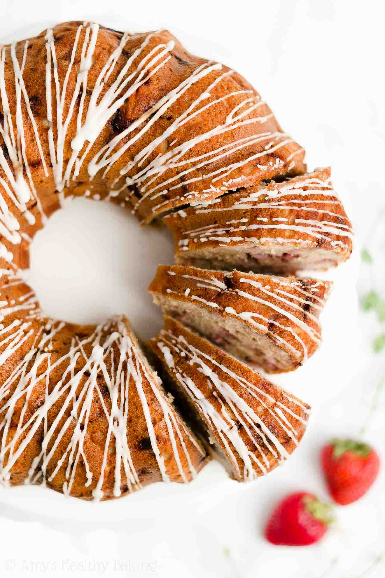 Best Easy Healthy Clean Eating Weight Watchers Fresh Strawberry Bundt Cake