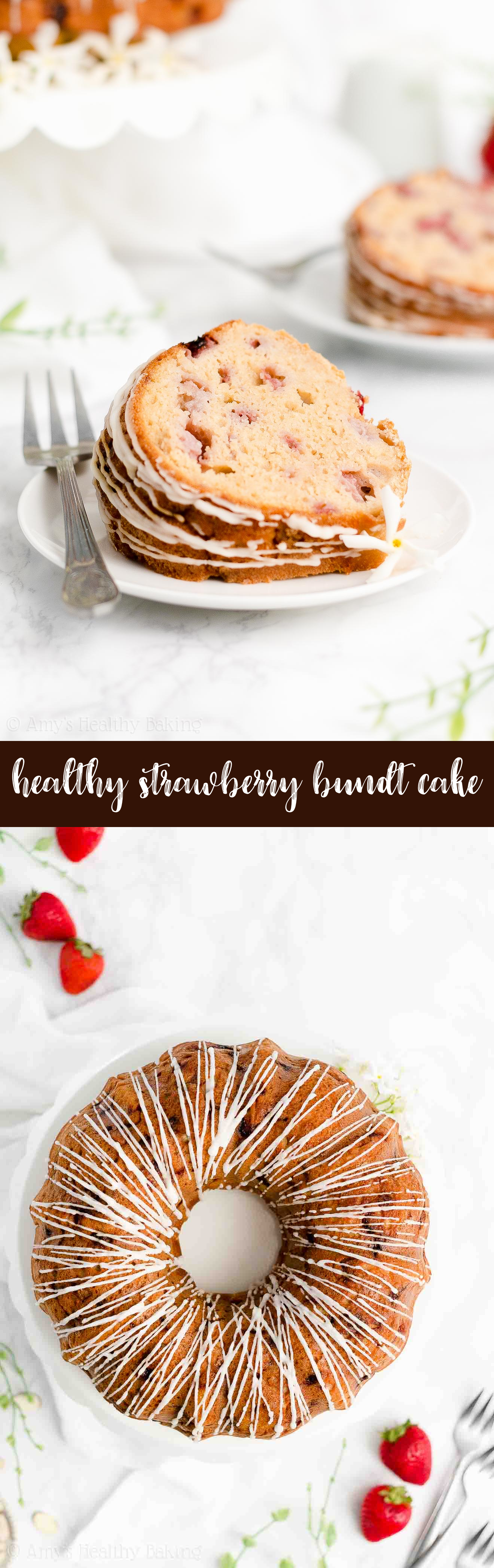 Best Easy Healthy Gluten Free Greek Yogurt Moist Fresh Strawberry Bundt Cake