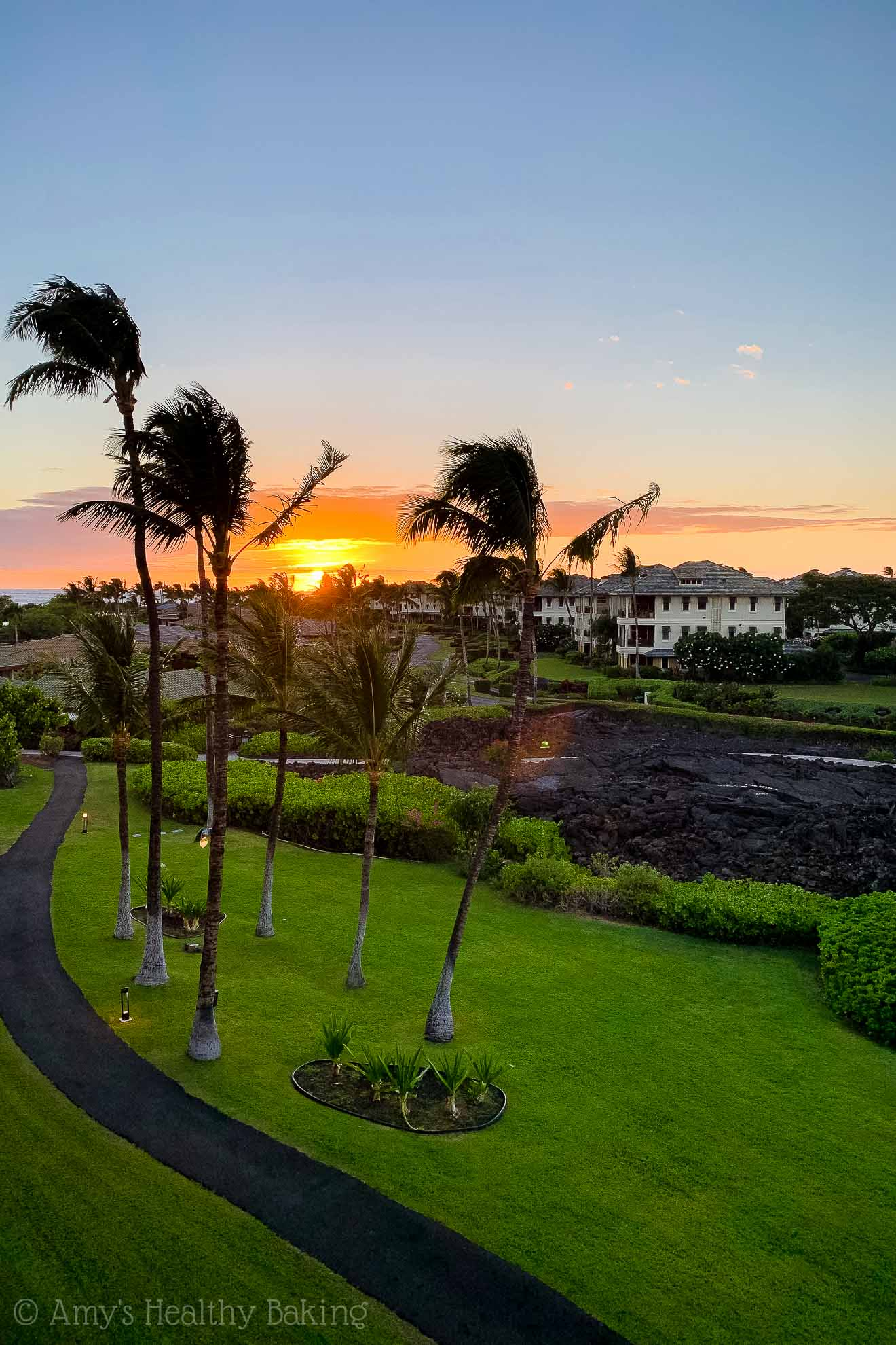 Sunset view from Marriott Waikoloa hotel room on the Big Island of Hawaii
