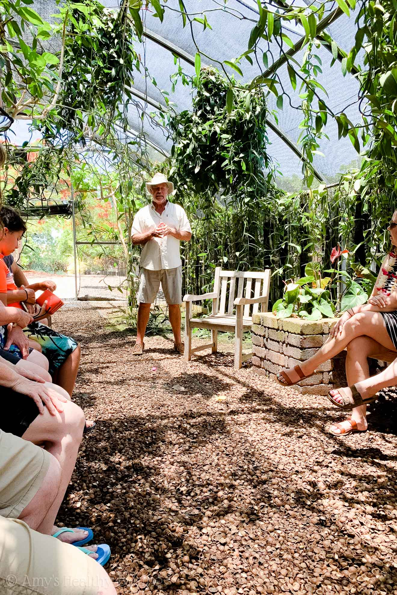 Guy Cellier giving a vanilla bean tour at the Vanillerie on the Big Island of Hawaii