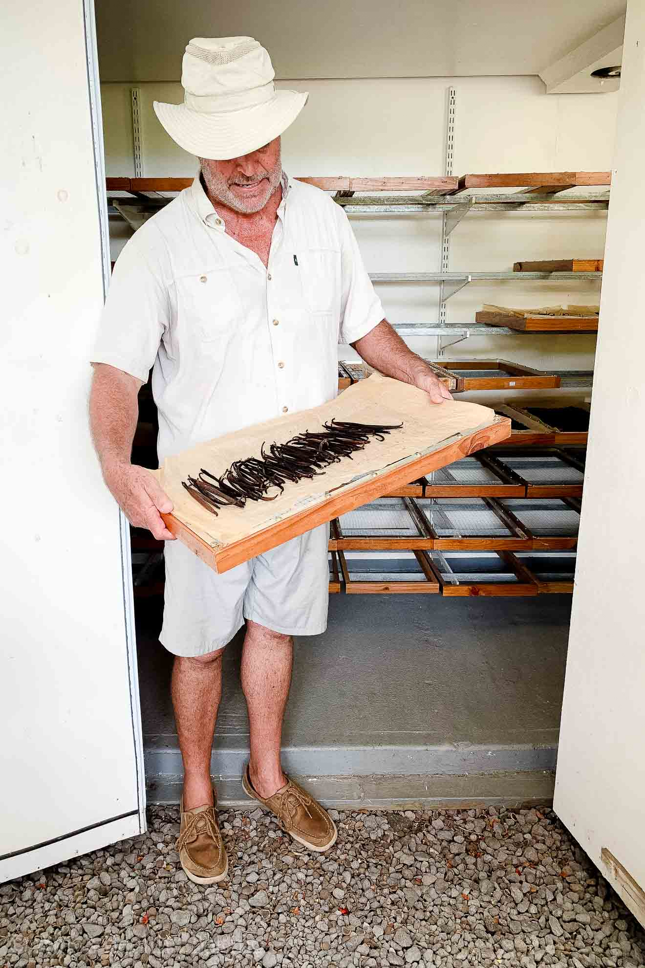 Guy Cellier showing hand-dried vanilla beans at the Vanillerie | Big Island of Hawaii