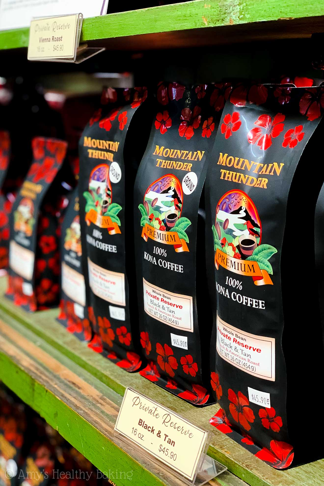 Bags of 100% Kona coffee from Mountain Thunder on the Big Island of Hawaii