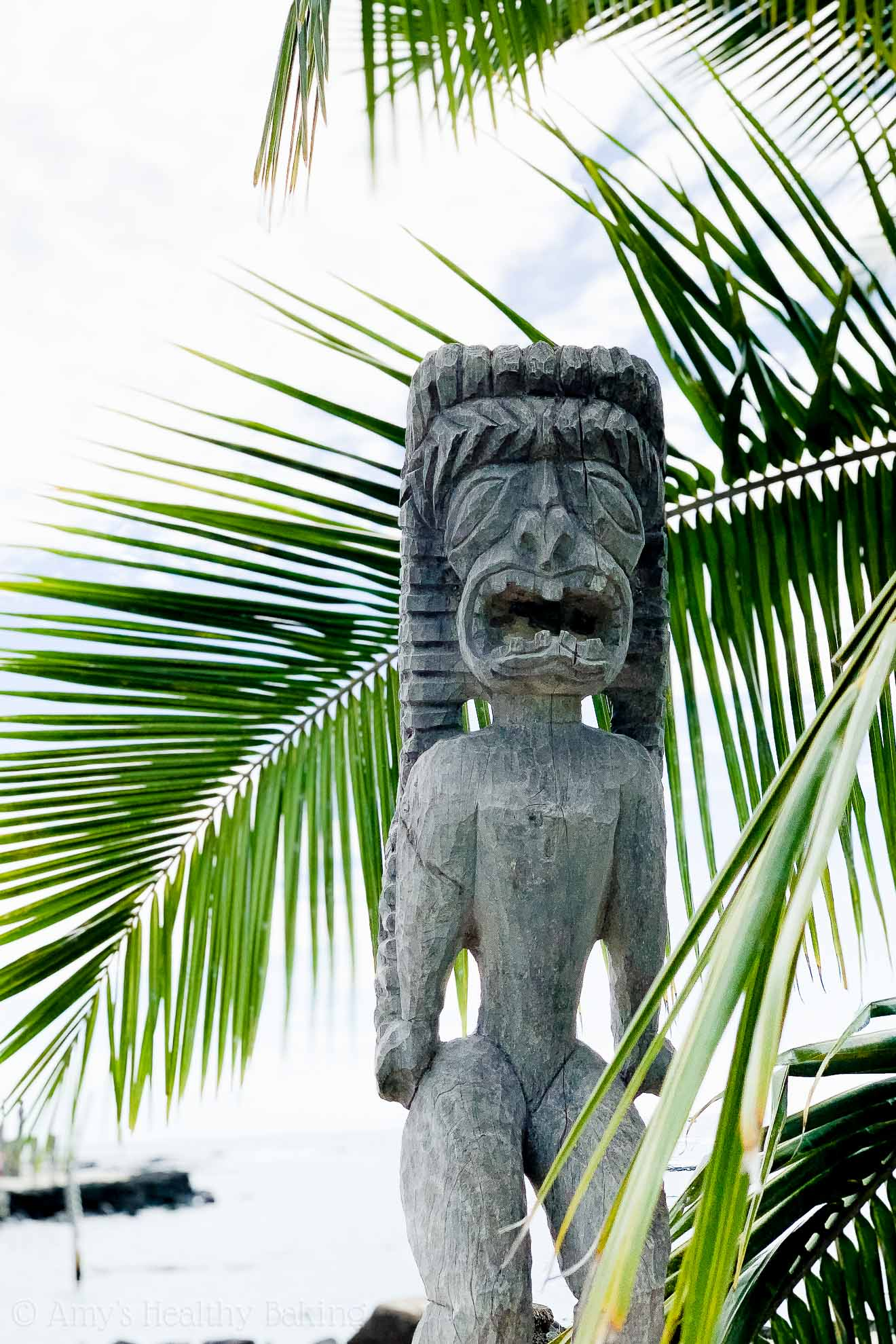 Ki'i wooden statute at the Place of Refuge on the Big Island of Hawaii