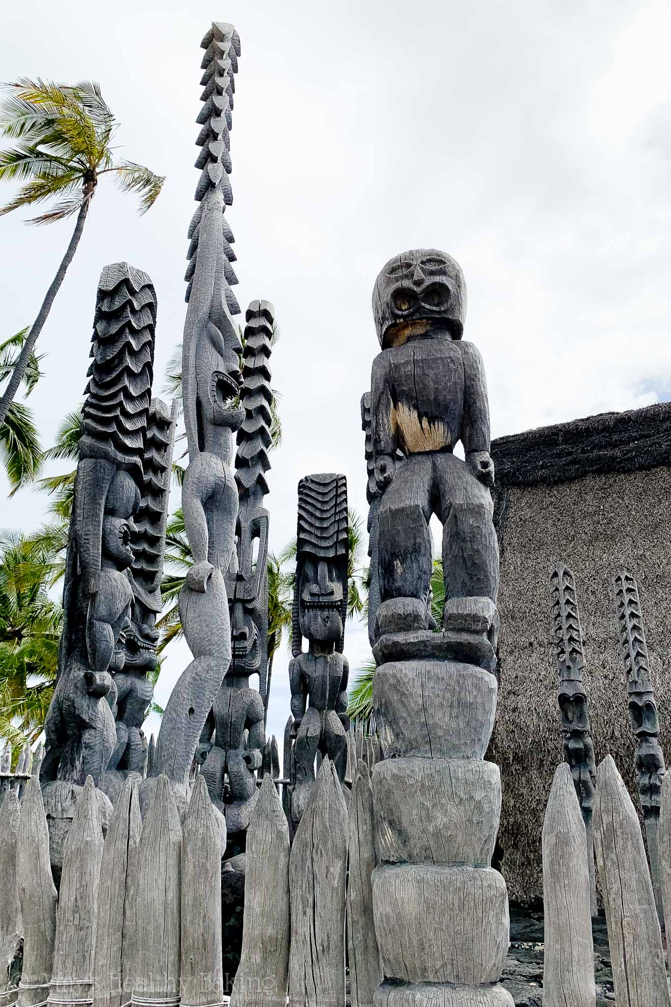 Ki'i wooden statues at the Place of Refuge on the Big Island of Hawaii