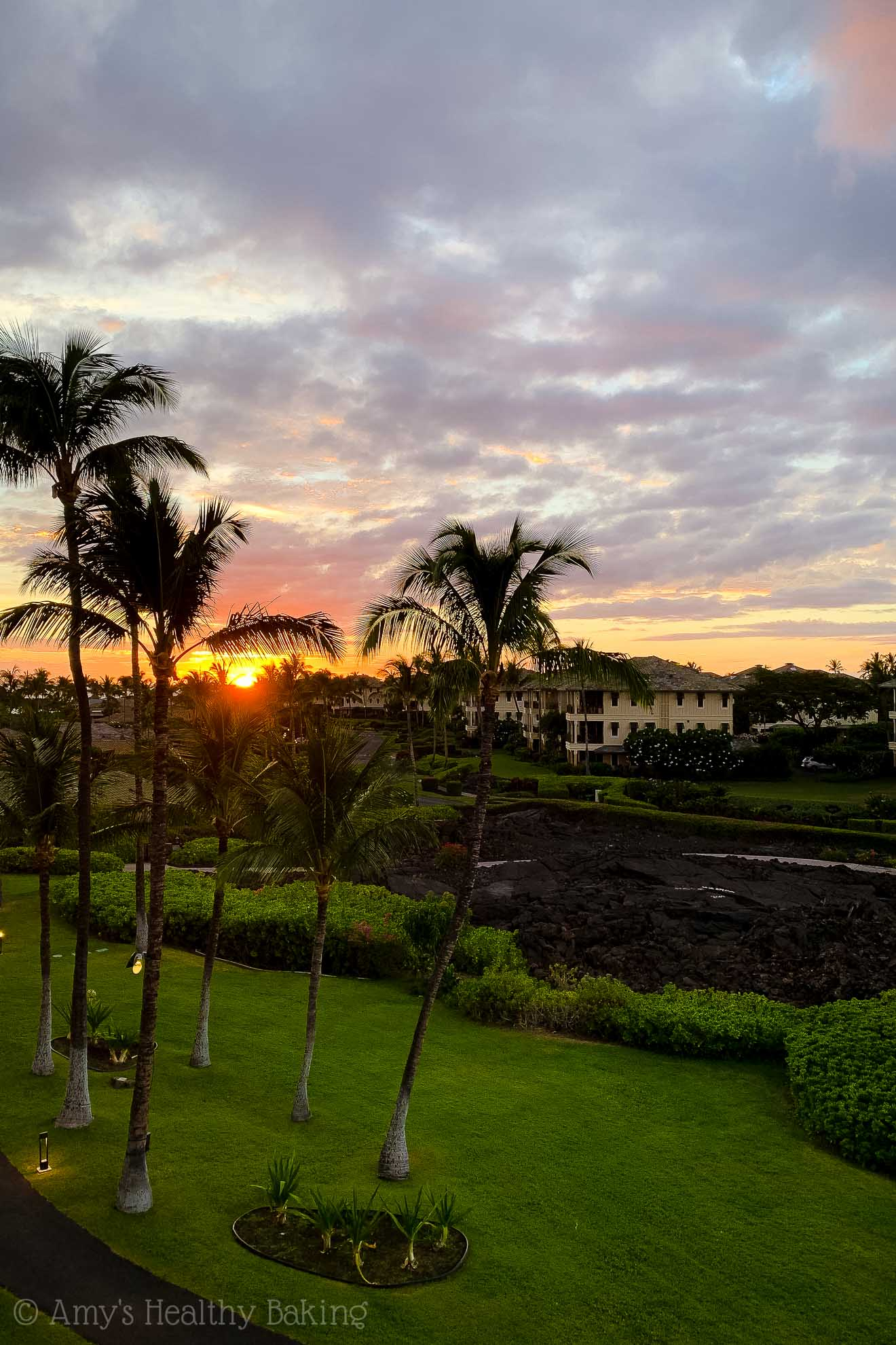Beautiful sunset view from a Marriott Waikoloa hotel room on the Big Island of Hawaii