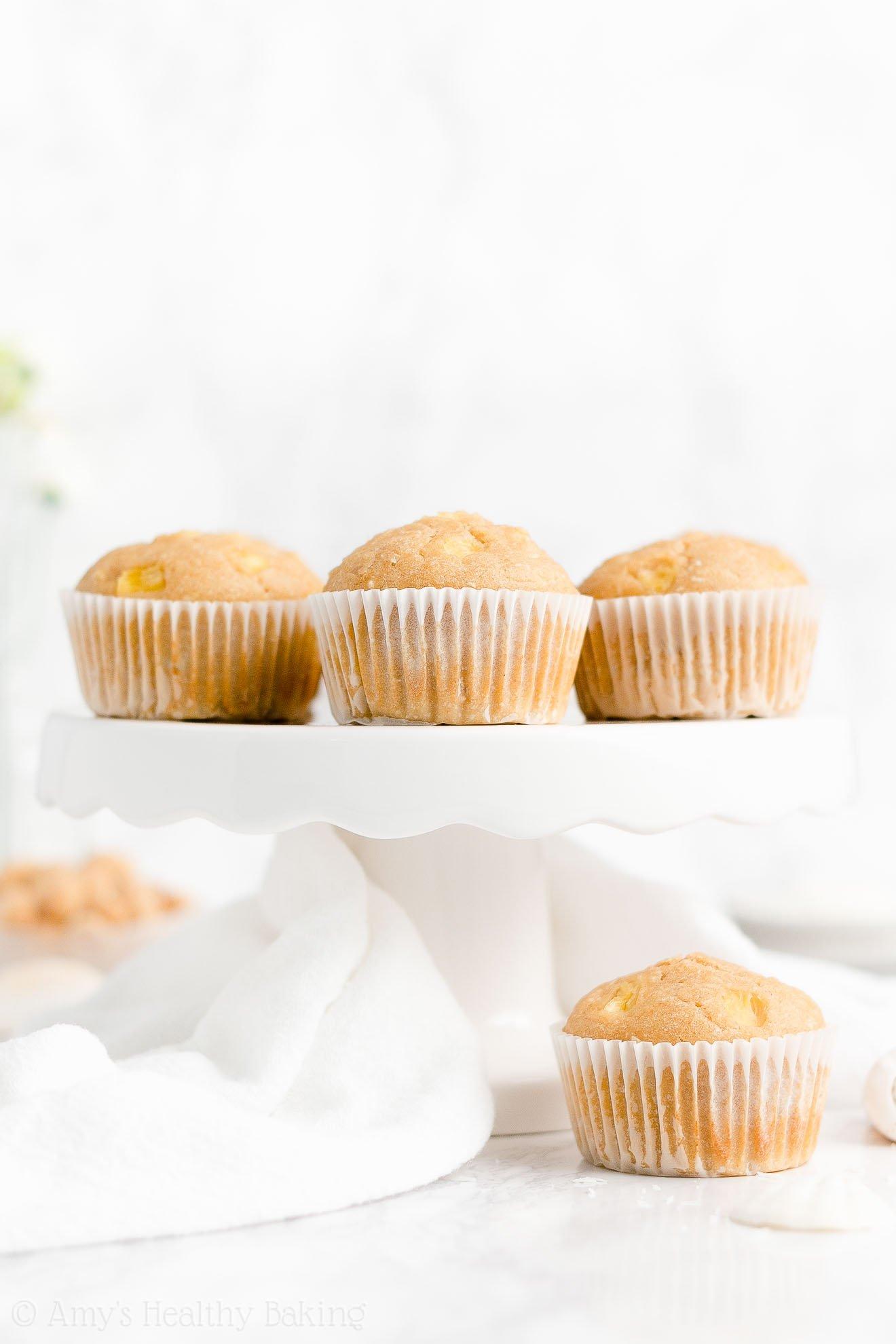 Healthy Tropical Hawaiian Muffins with Pineapple, Coconut & Macadamia Nuts