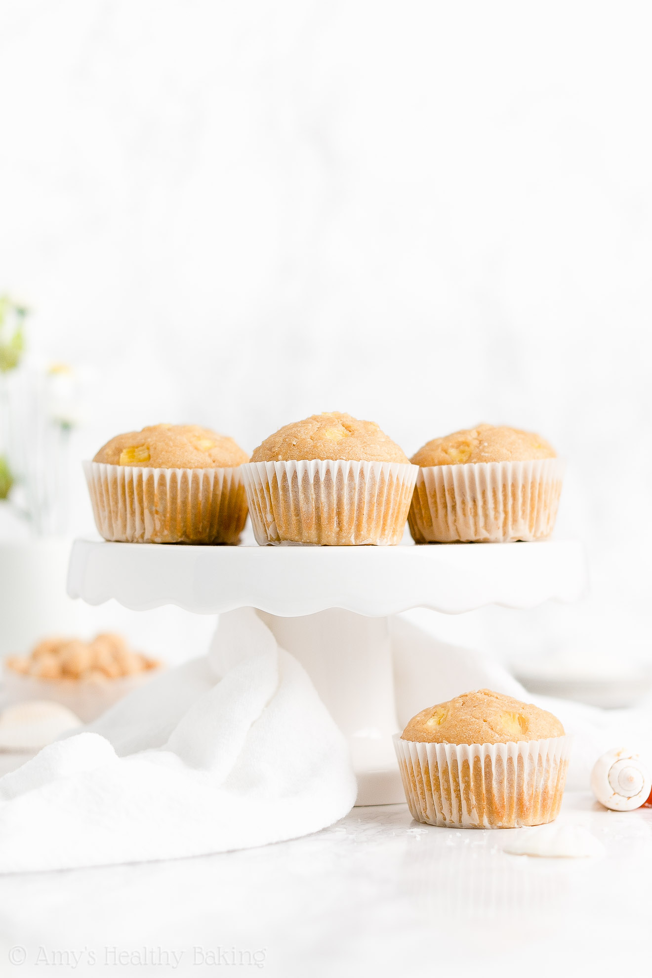 Clean Eating Healthy Sugar Free Pineapple, Coconut & Macadamia Nut Muffins