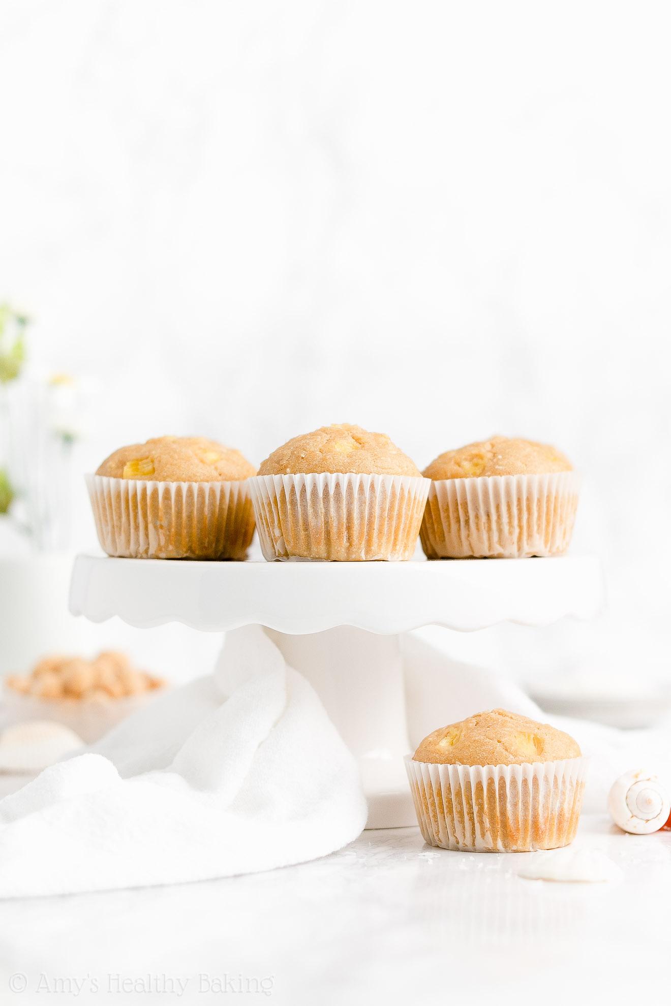 Clean Eating Healthy Sugar Free Pineapple, Coconut & Macadamia Nut Muffins