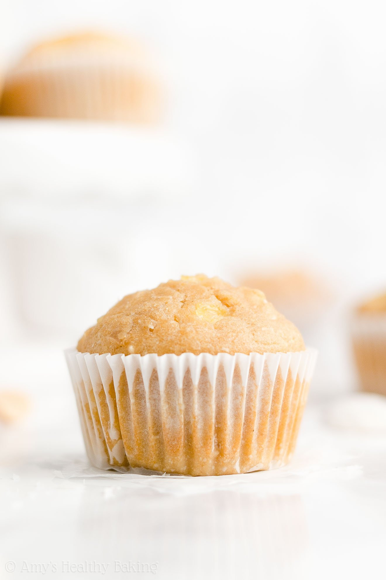 Low Calorie Healthy Whole Wheat Pineapple, Coconut & Macadamia Nut Muffins