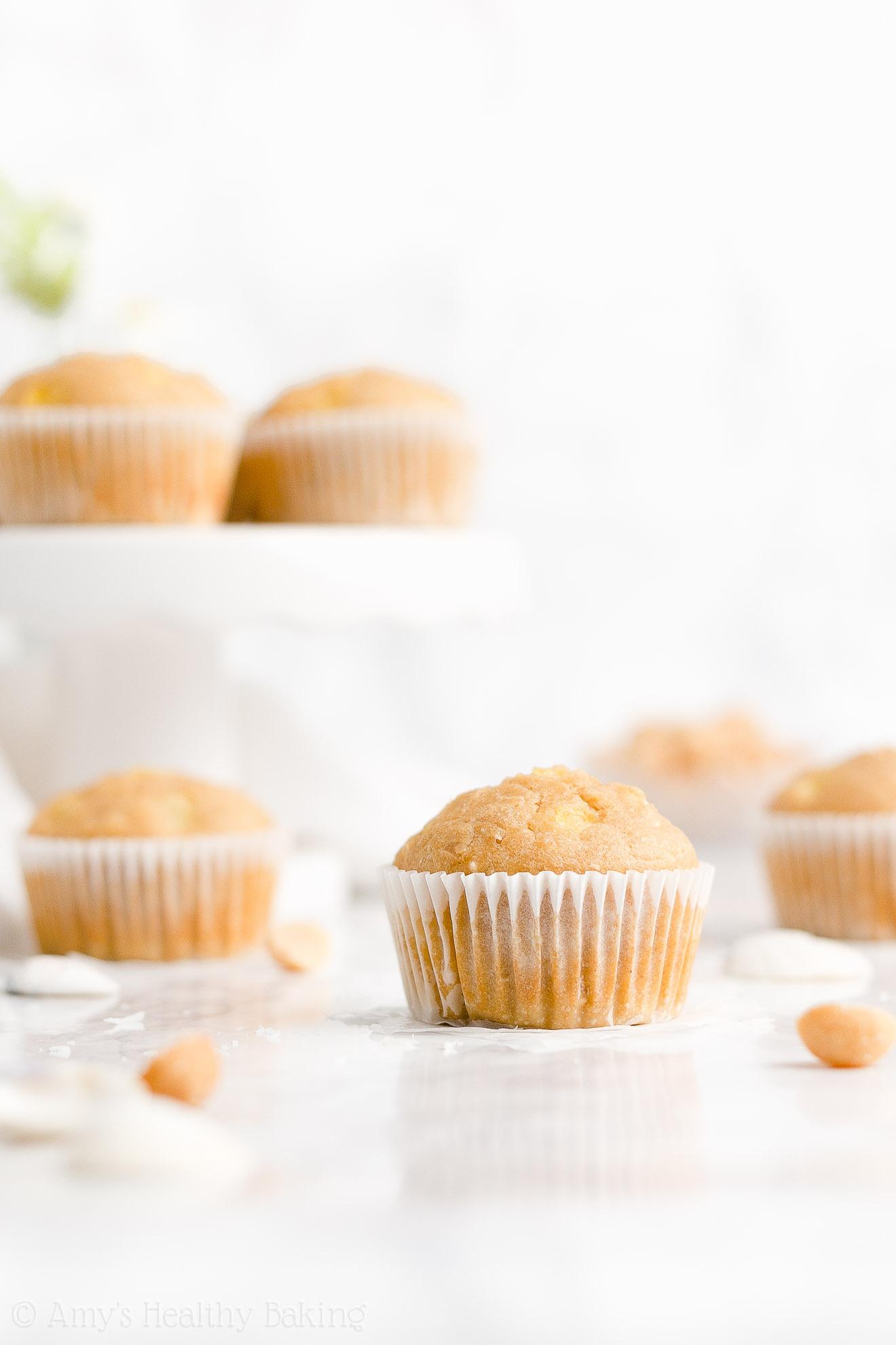 Fluffy Moist Healthy Gluten Free Pineapple, Coconut & Macadamia Nut Muffins