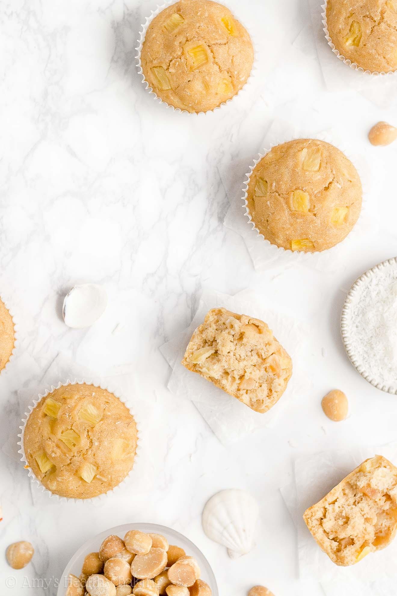 Moist Healthy Weight Watchers Pineapple, Coconut & Macadamia Nut Muffins