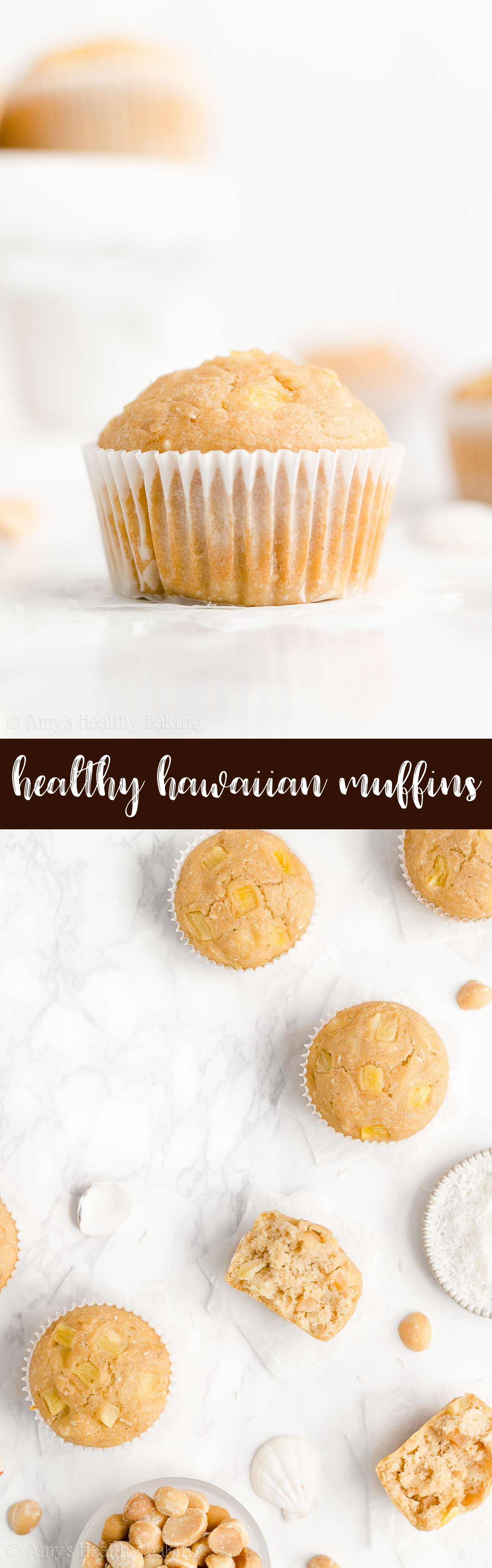 Best Ever Healthy Greek Yogurt Hawaiian Pineapple, Coconut & Macadamia Nut Muffins