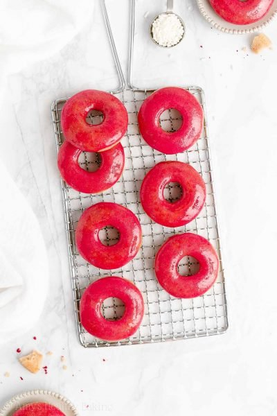 Healthy Vanilla Donuts with Raspberry Glaze