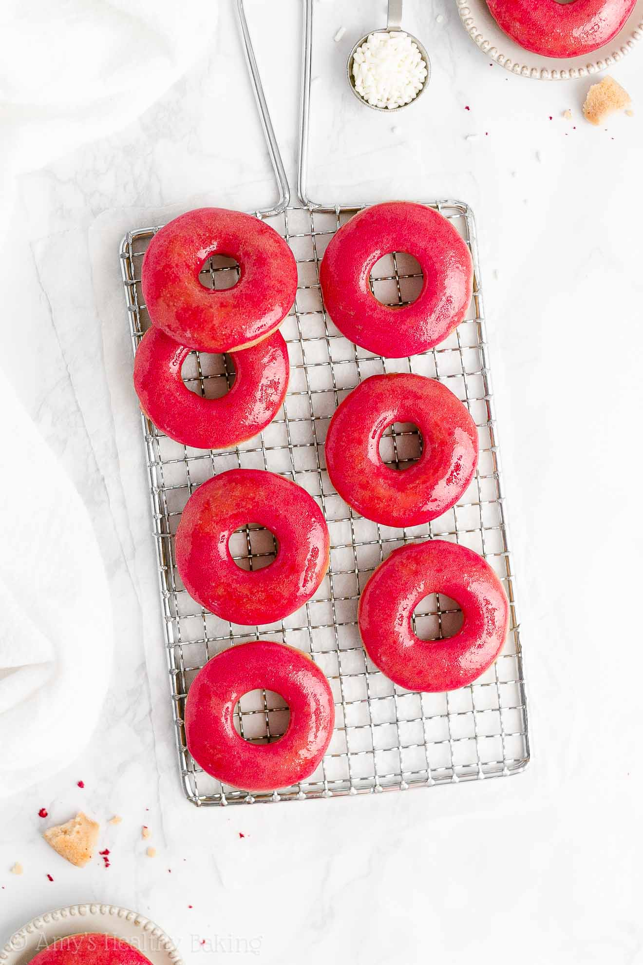 BEST Healthy Baked No Yeast Vanilla Donuts with Sugar Free Raspberry Glaze
