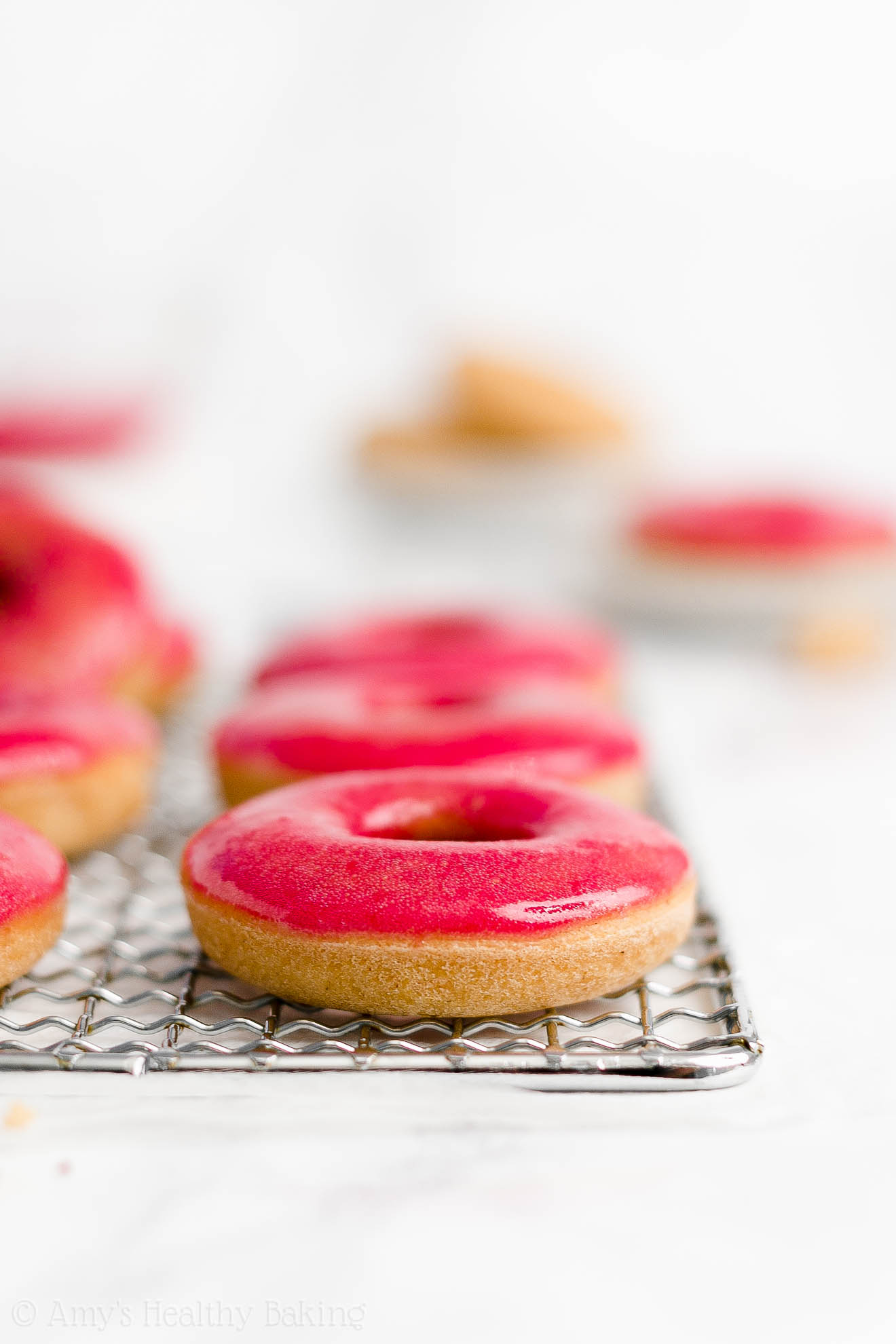BEST Healthy Gluten Free Low Calorie Baked Vanilla Donuts with Raspberry Glaze