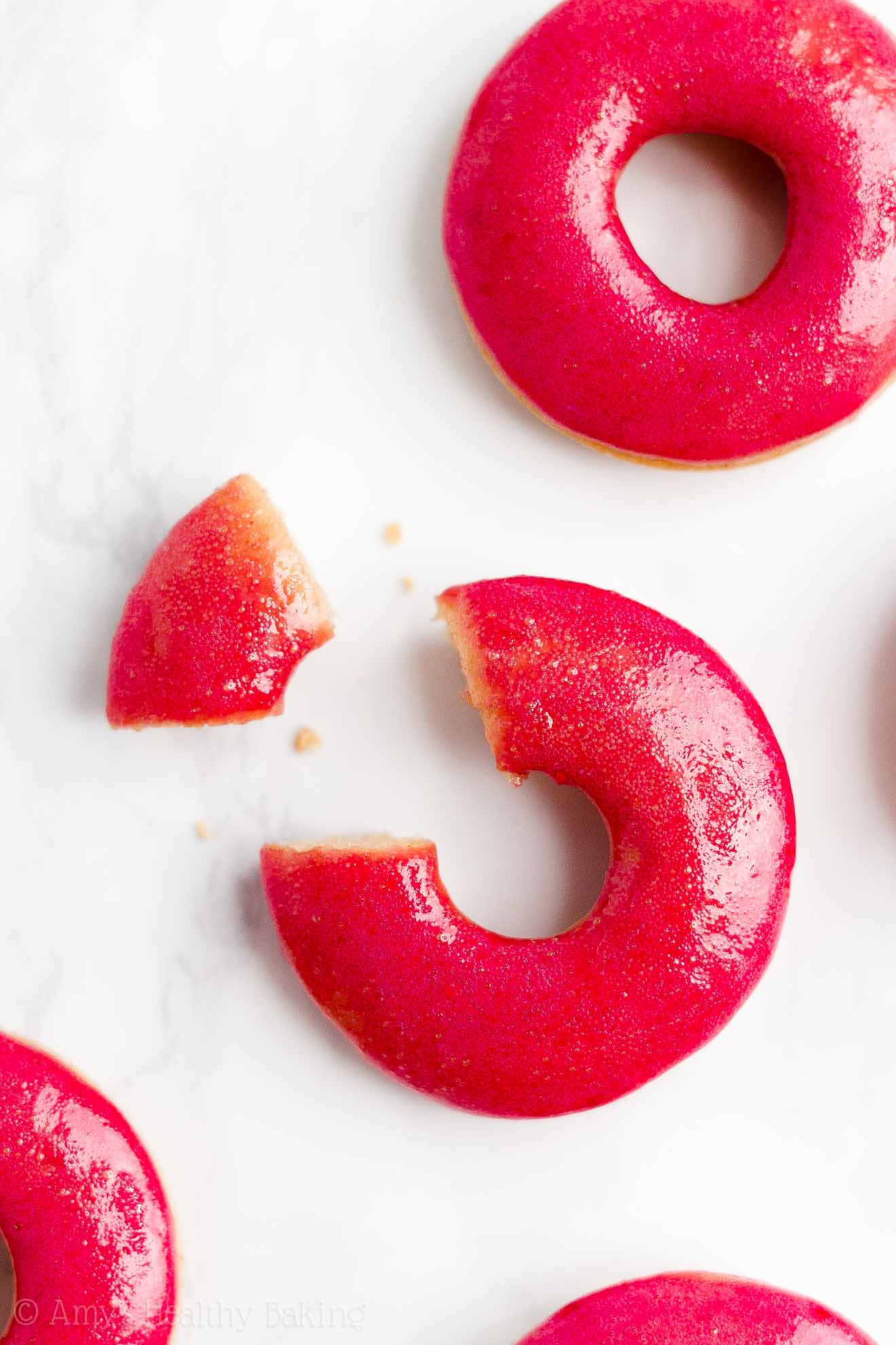 BEST Healthy Clean Eating Baked Vanilla Donuts with Sugar Free Raspberry Glaze