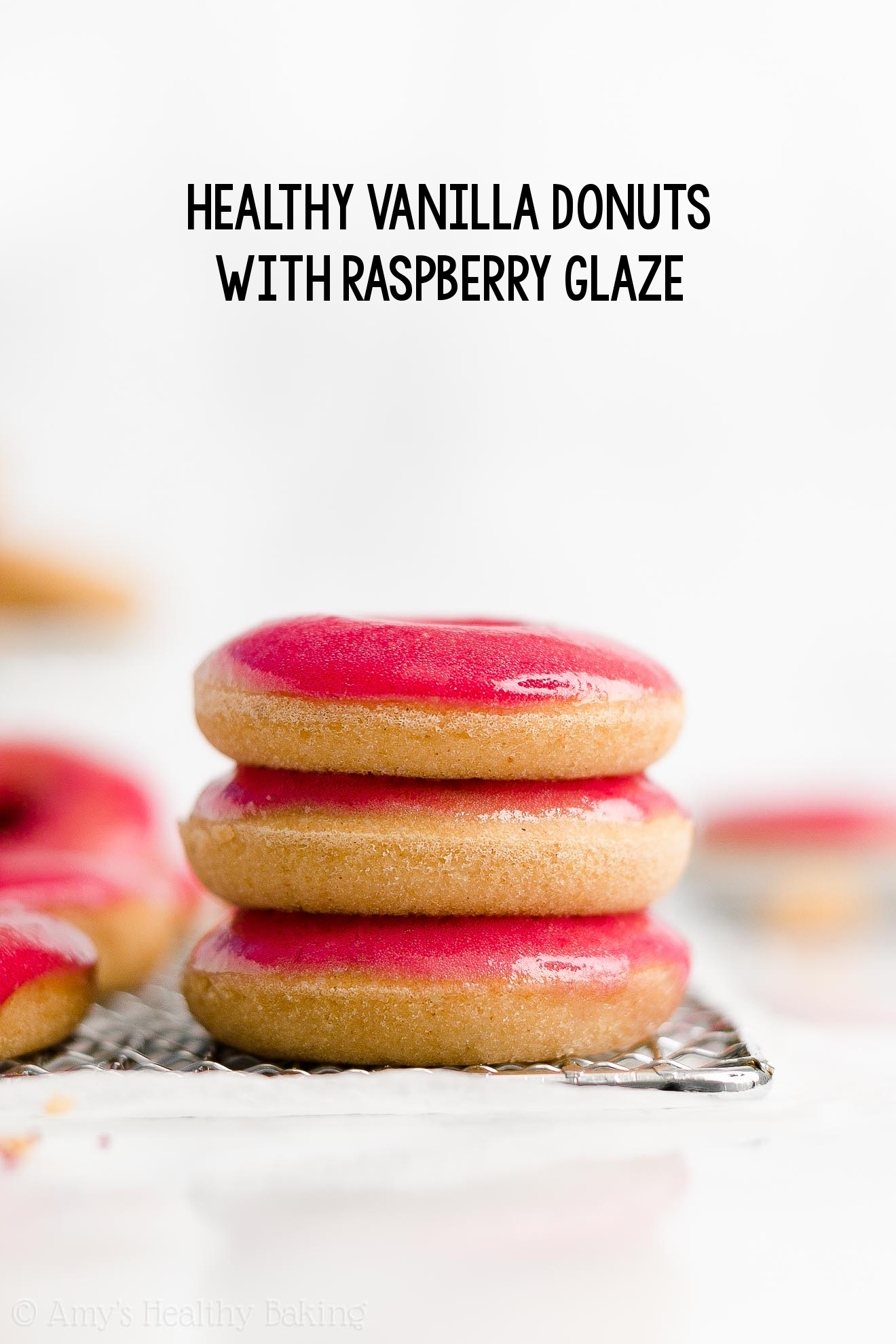BEST EVER Healthy Homemade Gluten Free Baked Vanilla Donuts with Raspberry Glaze