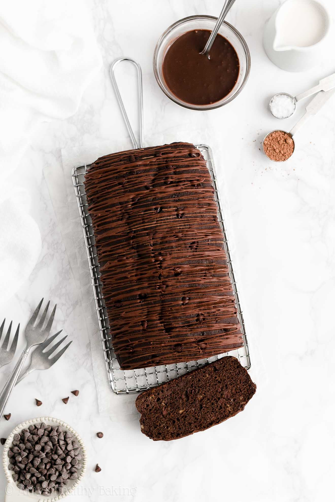 BEST EVER Healthy Gluten Free Low Sugar Greek Yogurt Chocolate Banana Bread