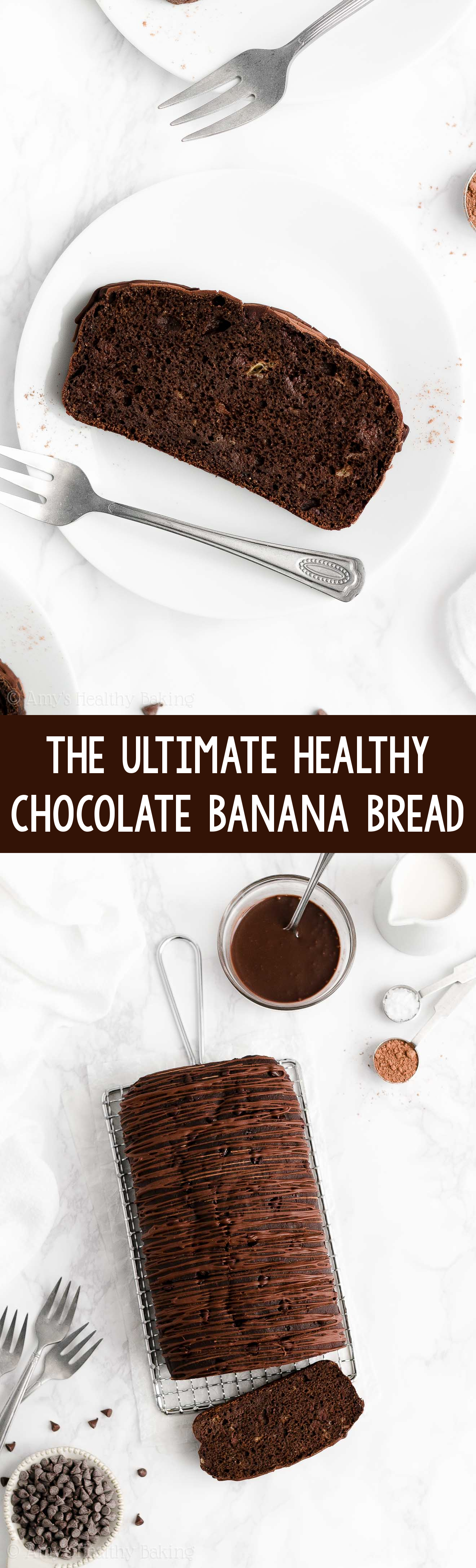 BEST EVER Easy Healthy Clean Eating Greek Yogurt Moist Chocolate Banana Bread