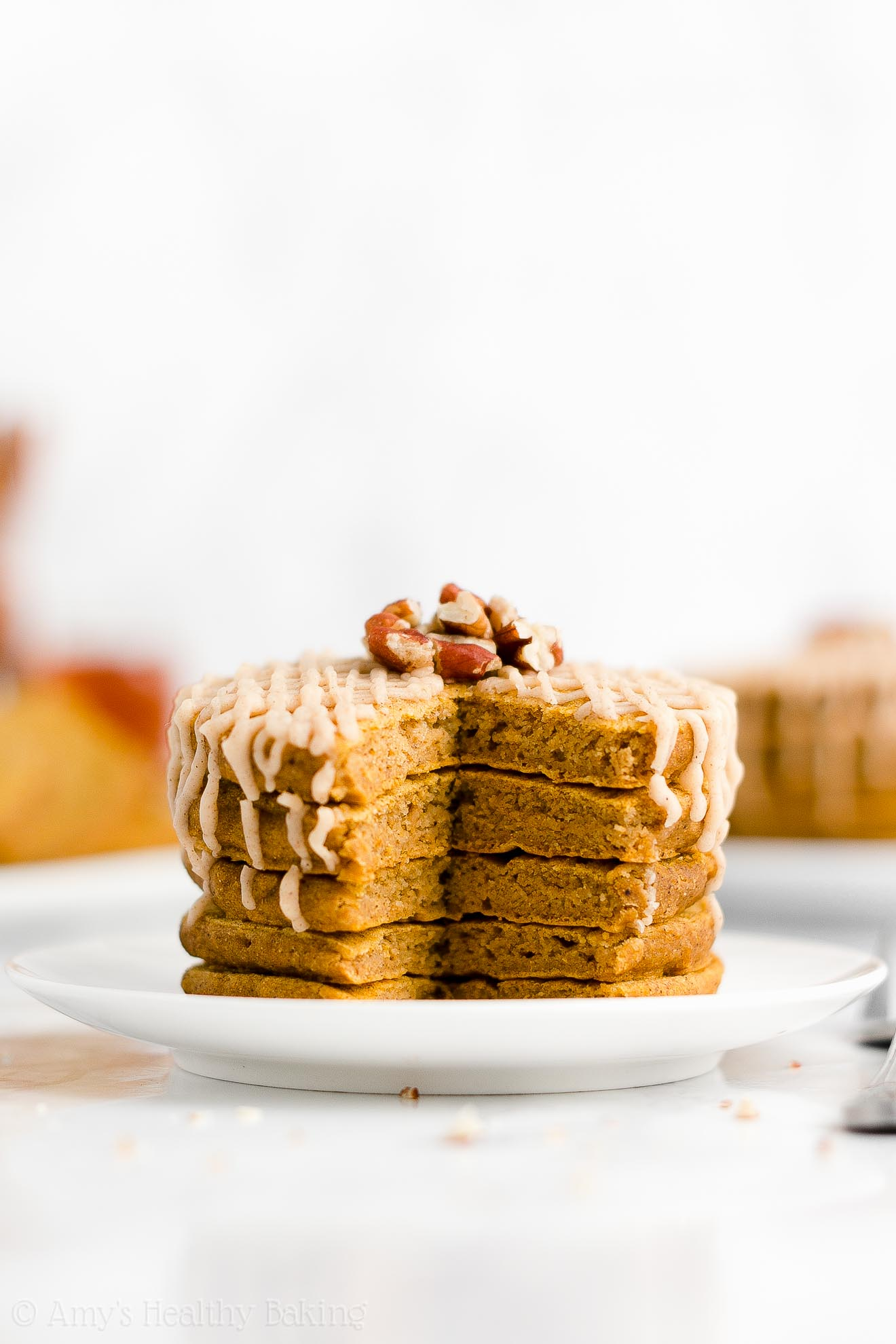 ULTIMATE Easy Healthy Whole Wheat Low Sugar Fluffy Pumpkin Pancakes