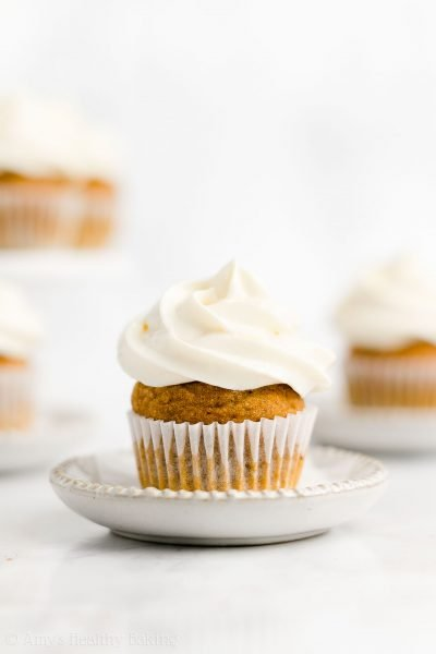 Healthy Mini Pumpkin Cupcakes with Cream Cheese Frosting