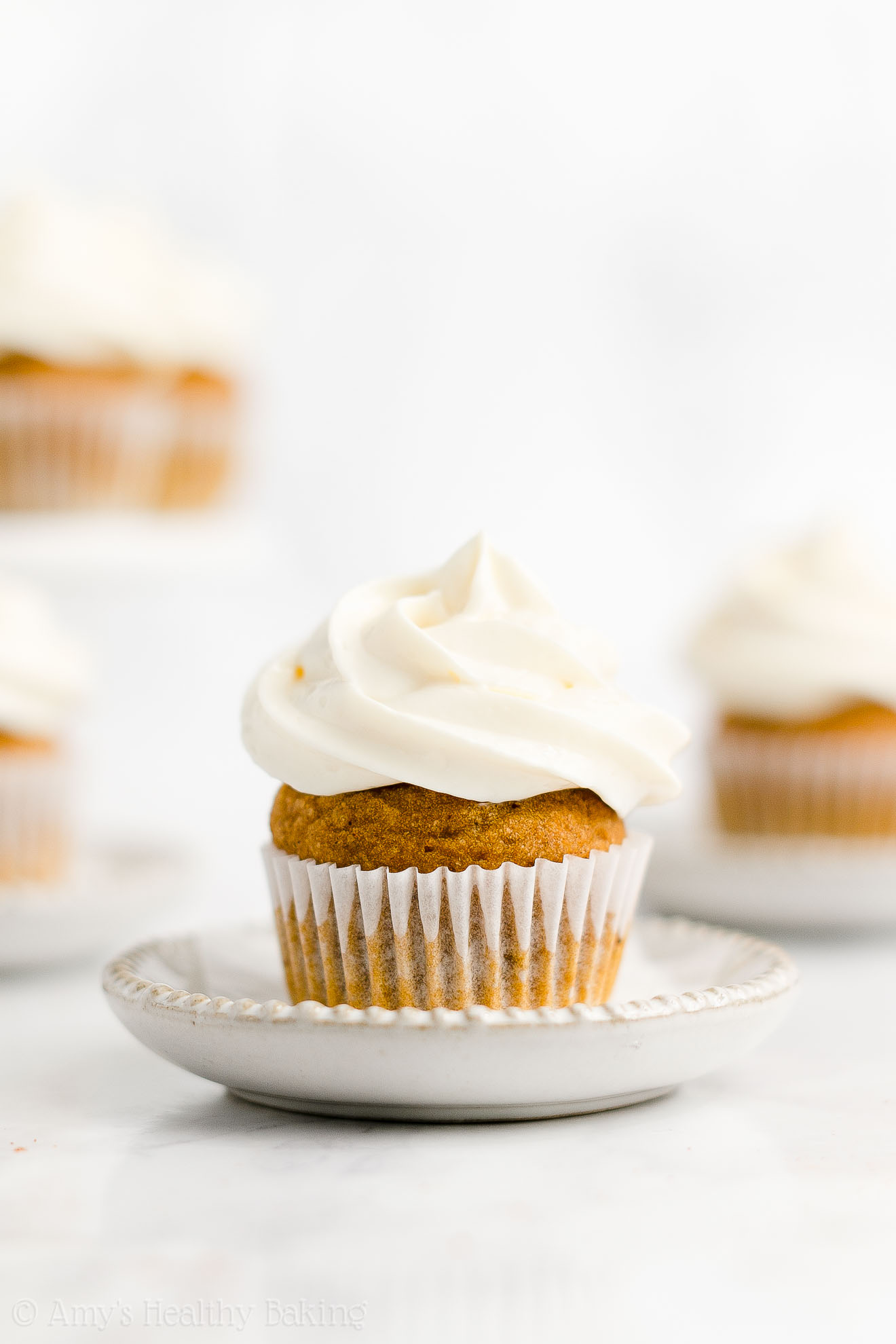 Easy Healthy Sugar Free Mini Pumpkin Cupcakes + Cream Cheese Frosting