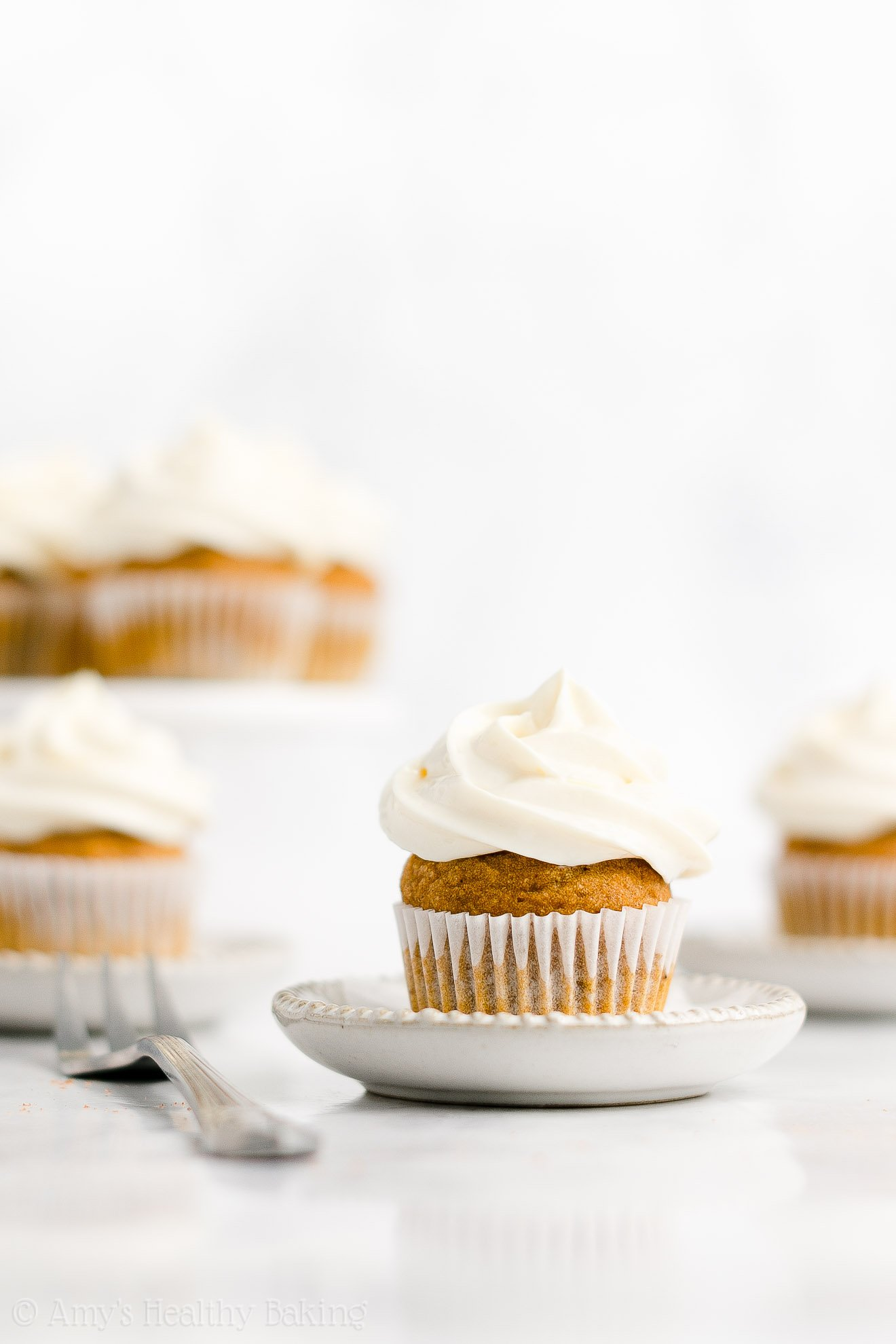 Best Healthy Clean Eating Moist Mini Pumpkin Cupcakes + Cream Cheese Frosting