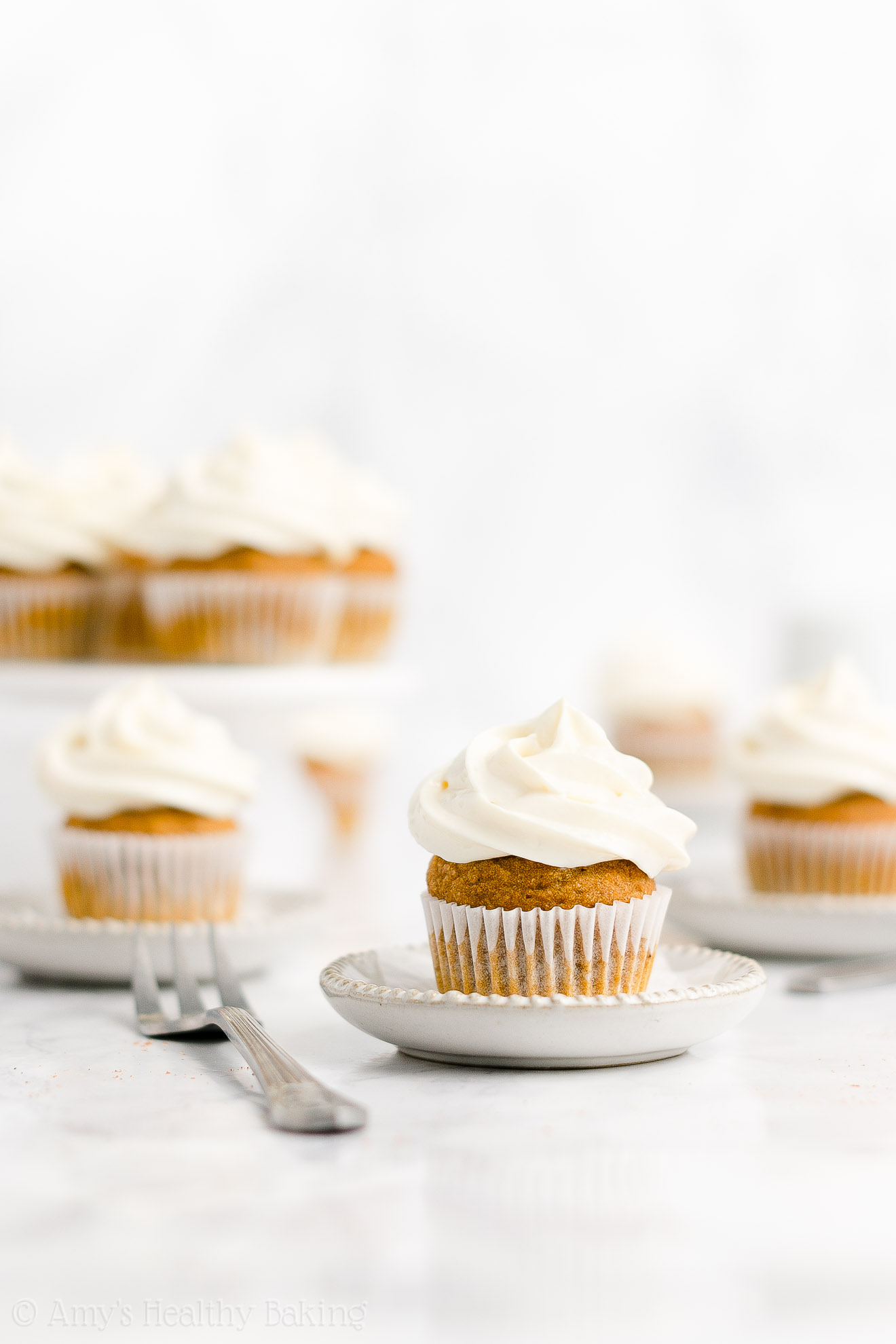 Best Healthy Low Calorie Low Fat Mini Pumpkin Cupcakes + Cream Cheese Frosting