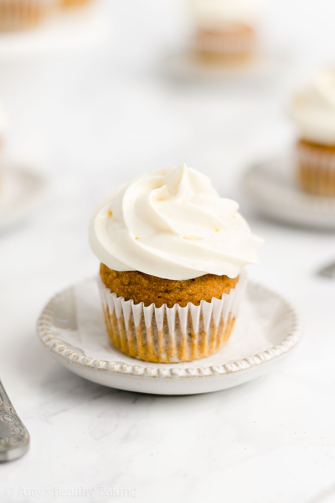 Weight Watchers Healthy Homemade Mini Pumpkin Cupcakes + Cream Cheese Frosting