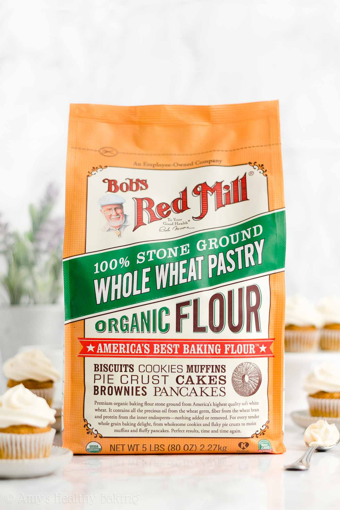 Bob's Red Mill Organic Whole Wheat Pastry Flour, used to make Healthy Mini Pumpkin Cupcakes