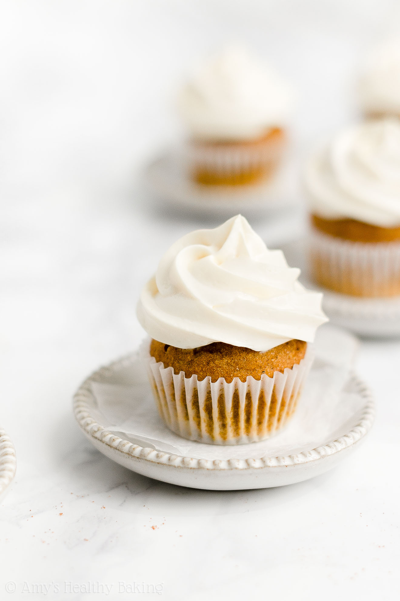 Best Healthy Gluten Free Mini Pumpkin Cupcakes + Cream Cheese Frosting