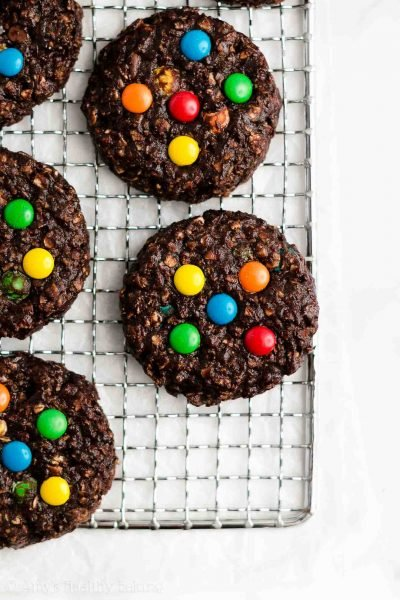 Healthy Flourless Chocolate Monster Cookies
