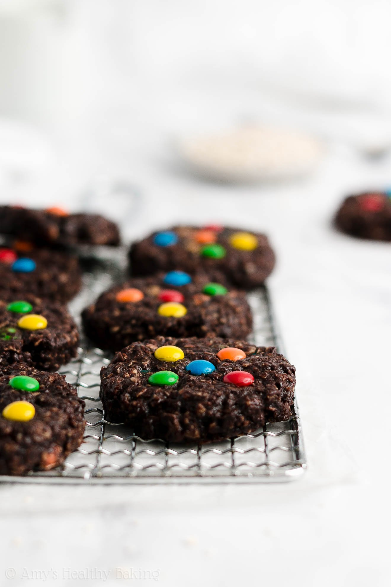Best Healthy Low Calorie Flourless Chocolate Peanut Butter M&M Monster Cookies