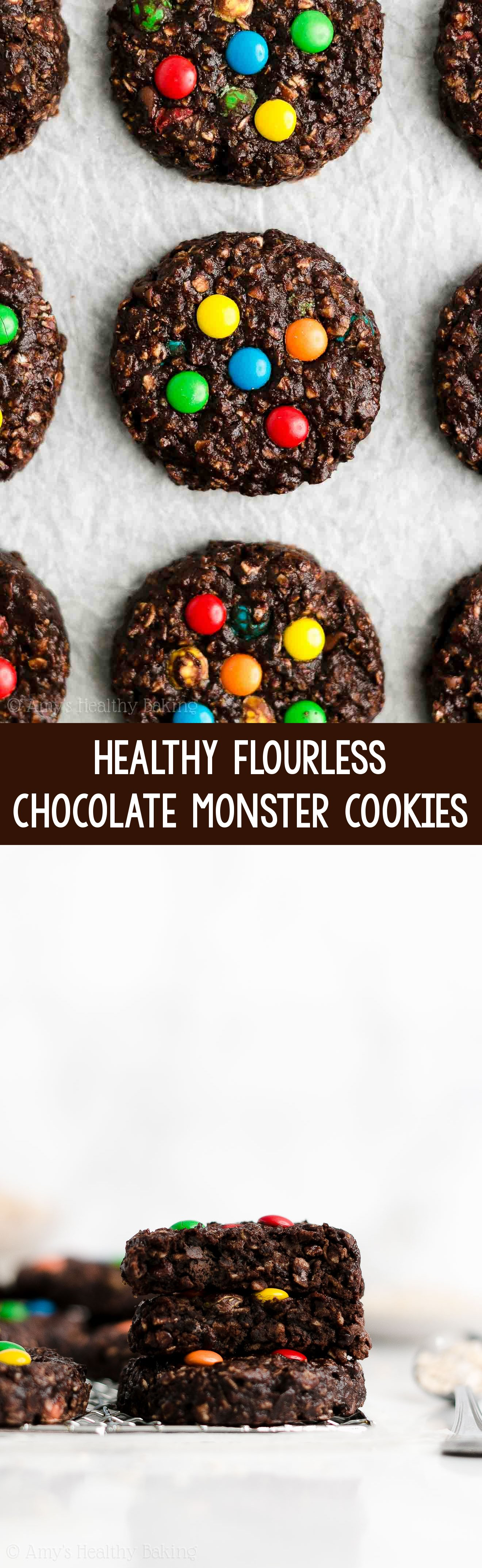 BEST EVER Easy Healthy Gluten Free Flourless Chocolate Peanut Butter Monster Cookies