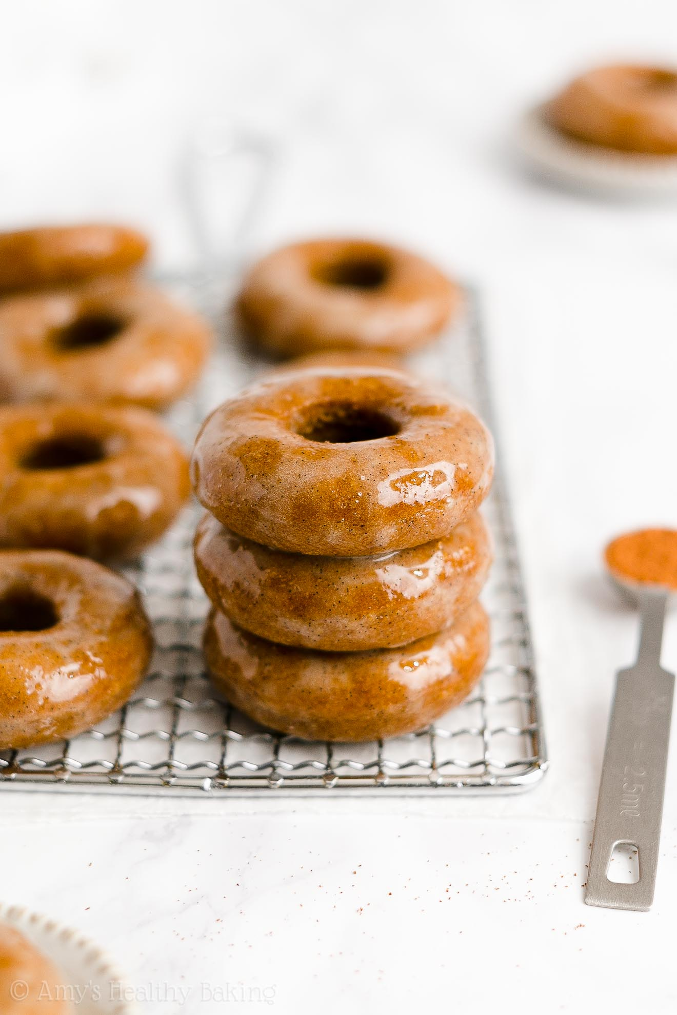 BEST EVER Healthy Vegan Baked Pumpkin Spice Donuts with Sugar Free Glaze
