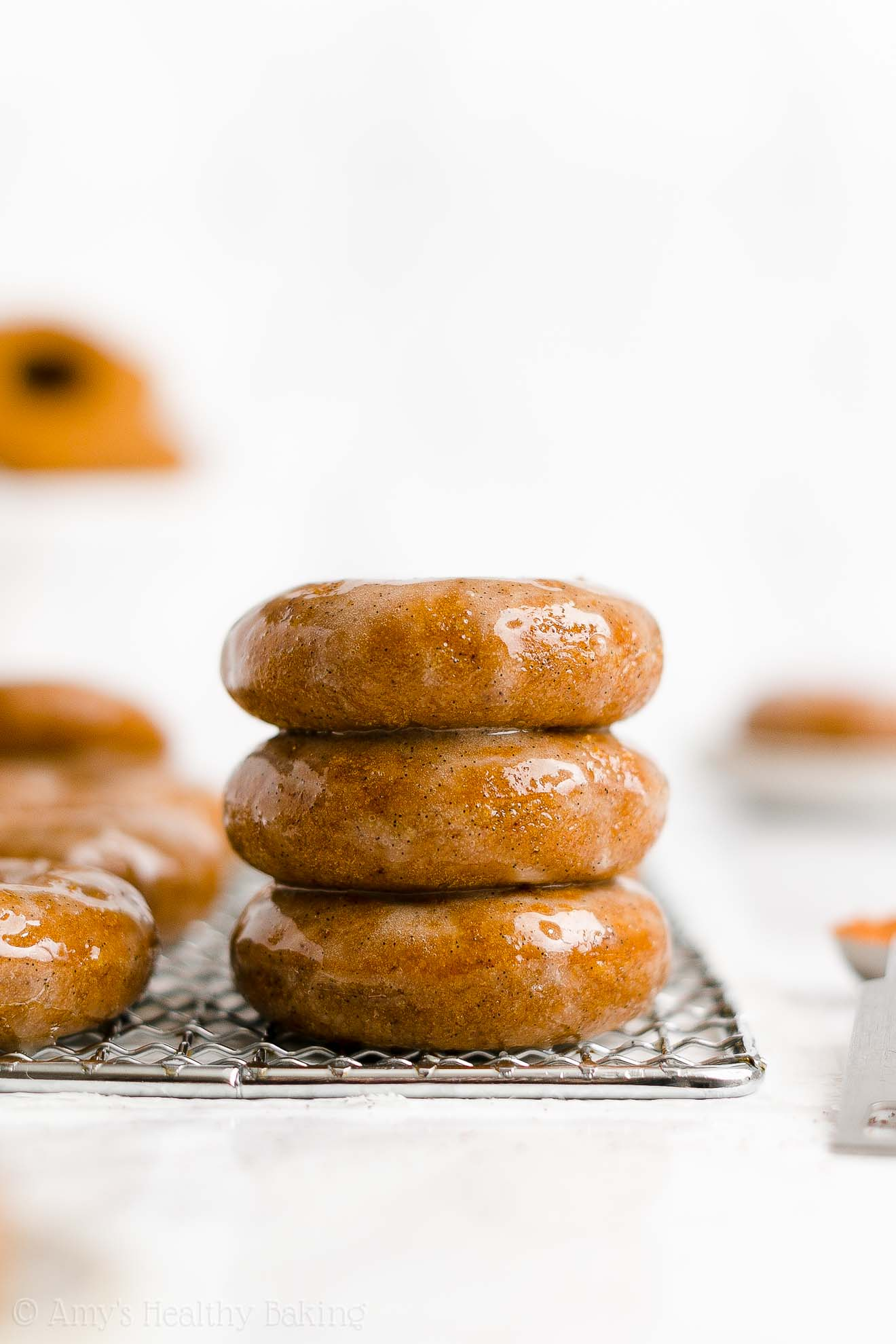 BEST EVER Healthy Baked Pumpkin Donuts with Sugar Free Vanilla Bean Glaze