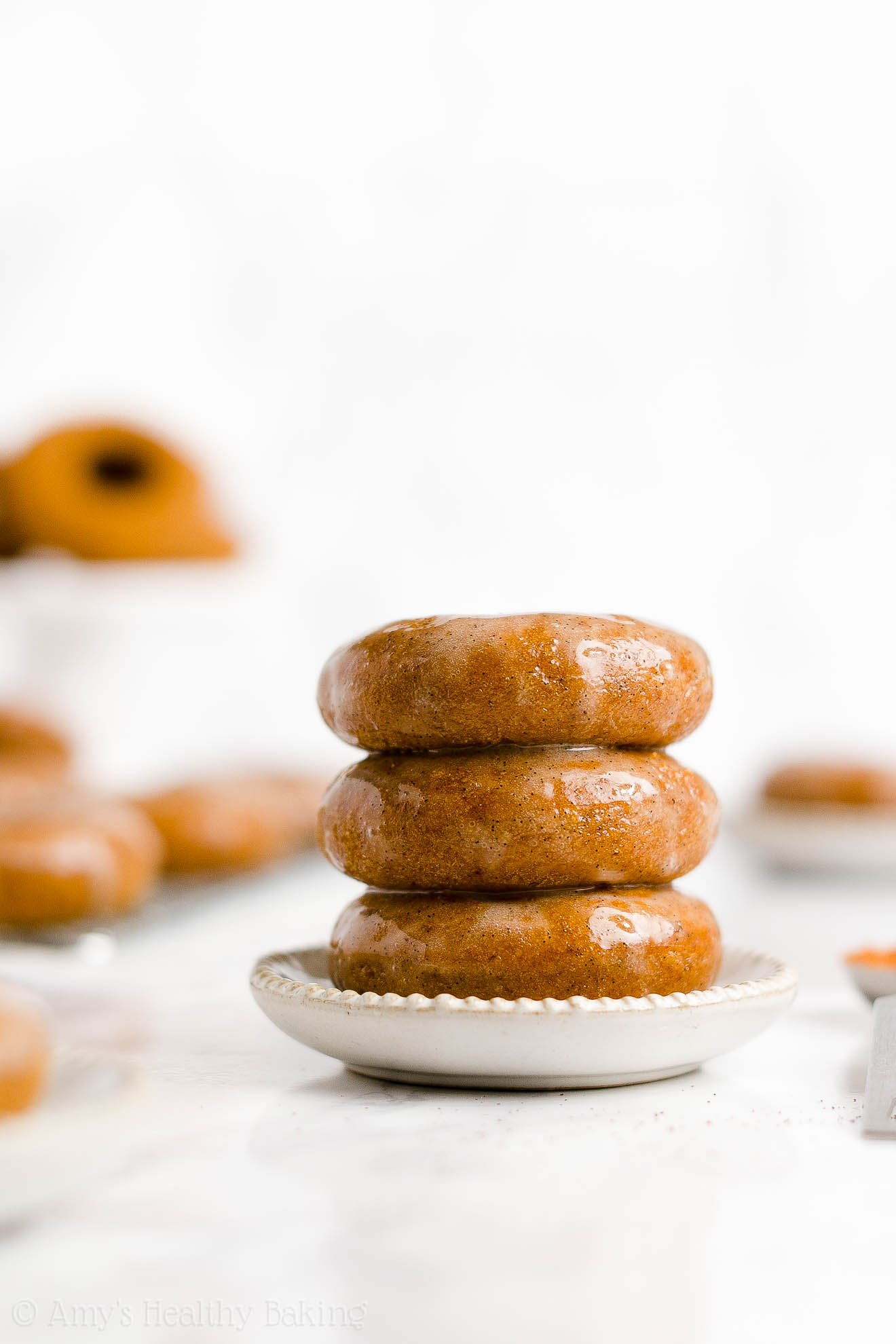 BEST EVER Healthy Gluten Free Baked Pumpkin Donuts with Sugar Free Glaze